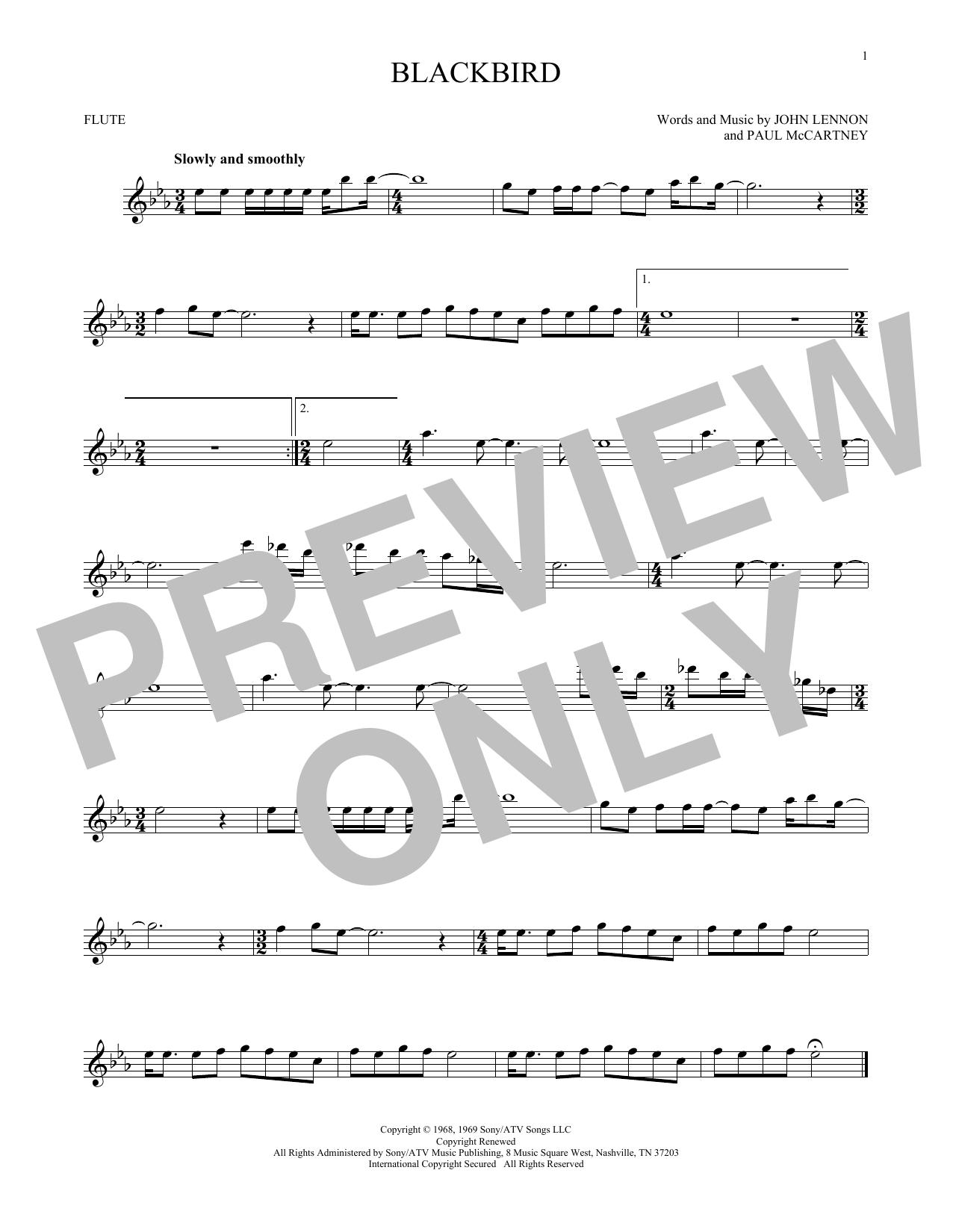 Partition flûte Blackbird de The Beatles - Flute traversiere