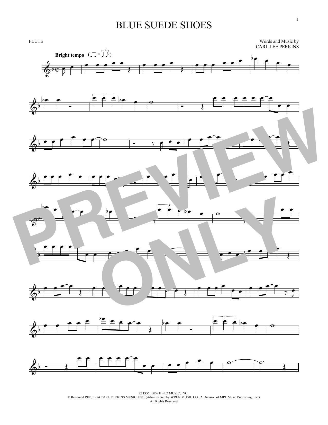 Partition flûte Blue Suede Shoes de Carl Perkins - Flute traversiere