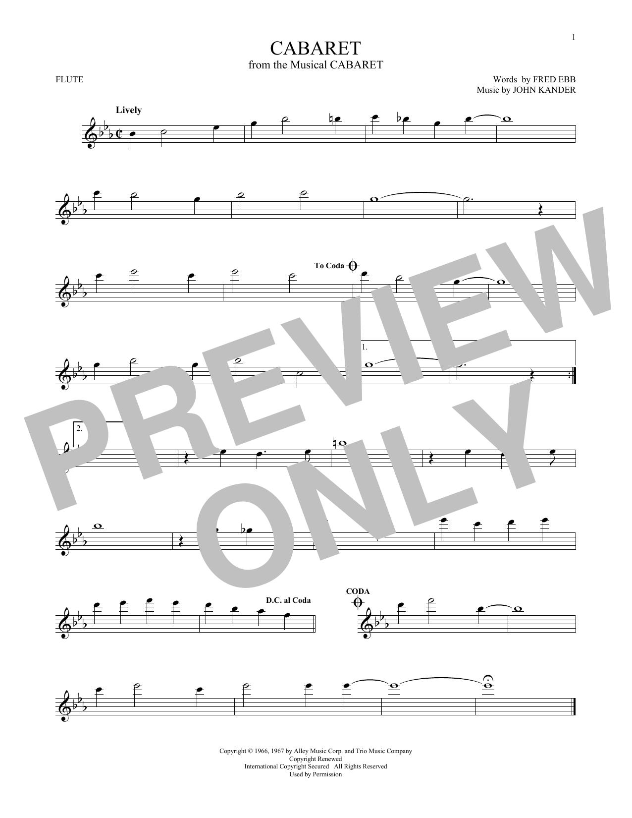 Partition flûte Cabaret de Kander & Ebb - Flute traversiere