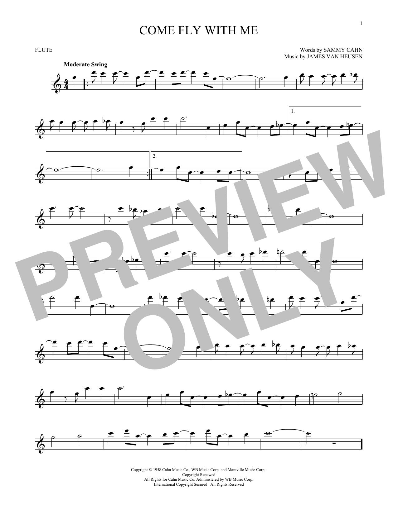 Partition flûte Come Fly With Me de Frank Sinatra - Flute traversiere