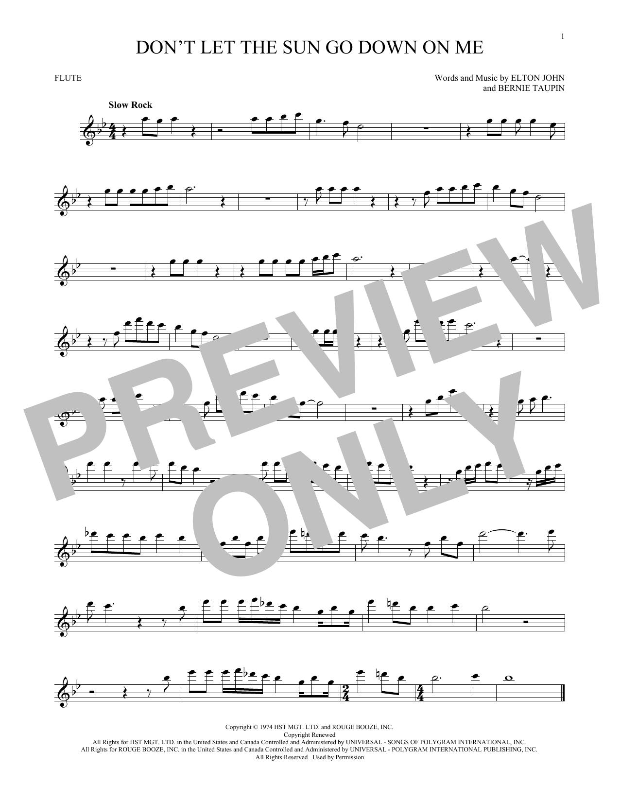 Partition flûte Don't Let The Sun Go Down On Me de Elton John & George Michael - Flute traversiere