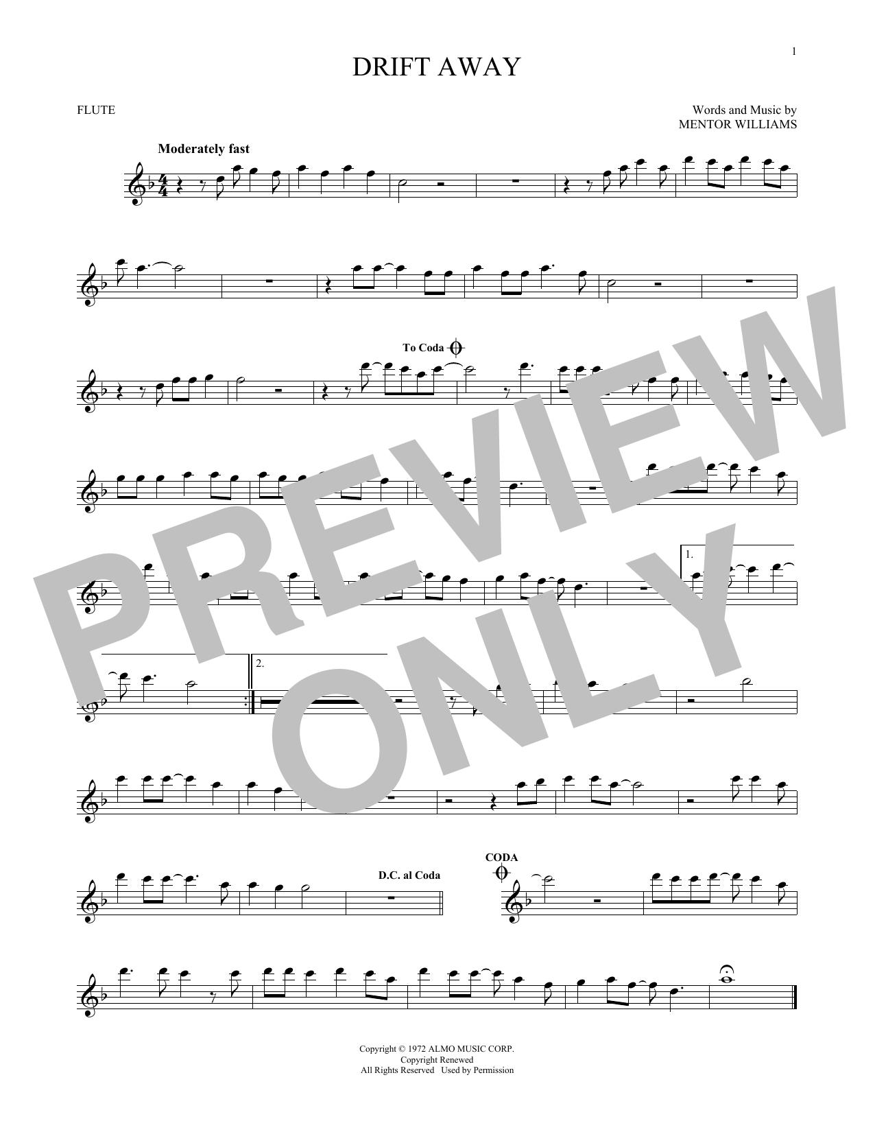 Partition flûte Drift Away de Dobie Gray - Flute traversiere