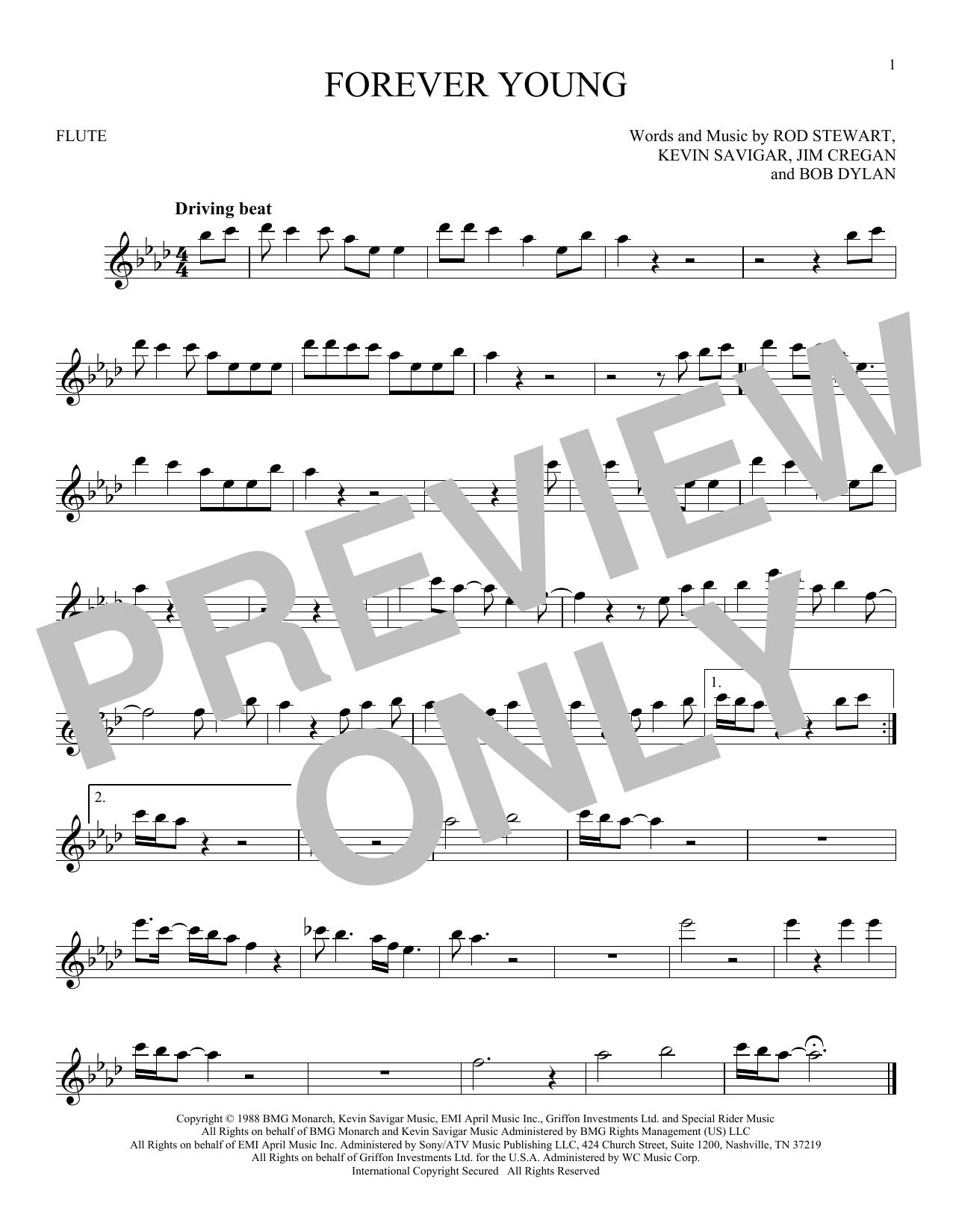 Partition flûte Forever Young de Rod Stewart - Flute traversiere