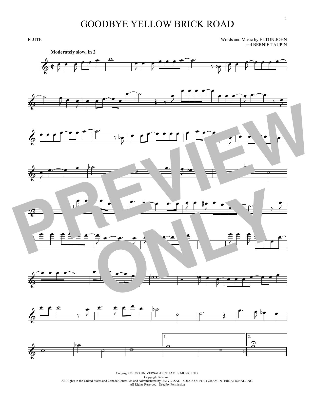 Partition flûte Goodbye Yellow Brick Road de Elton John - Flute traversiere
