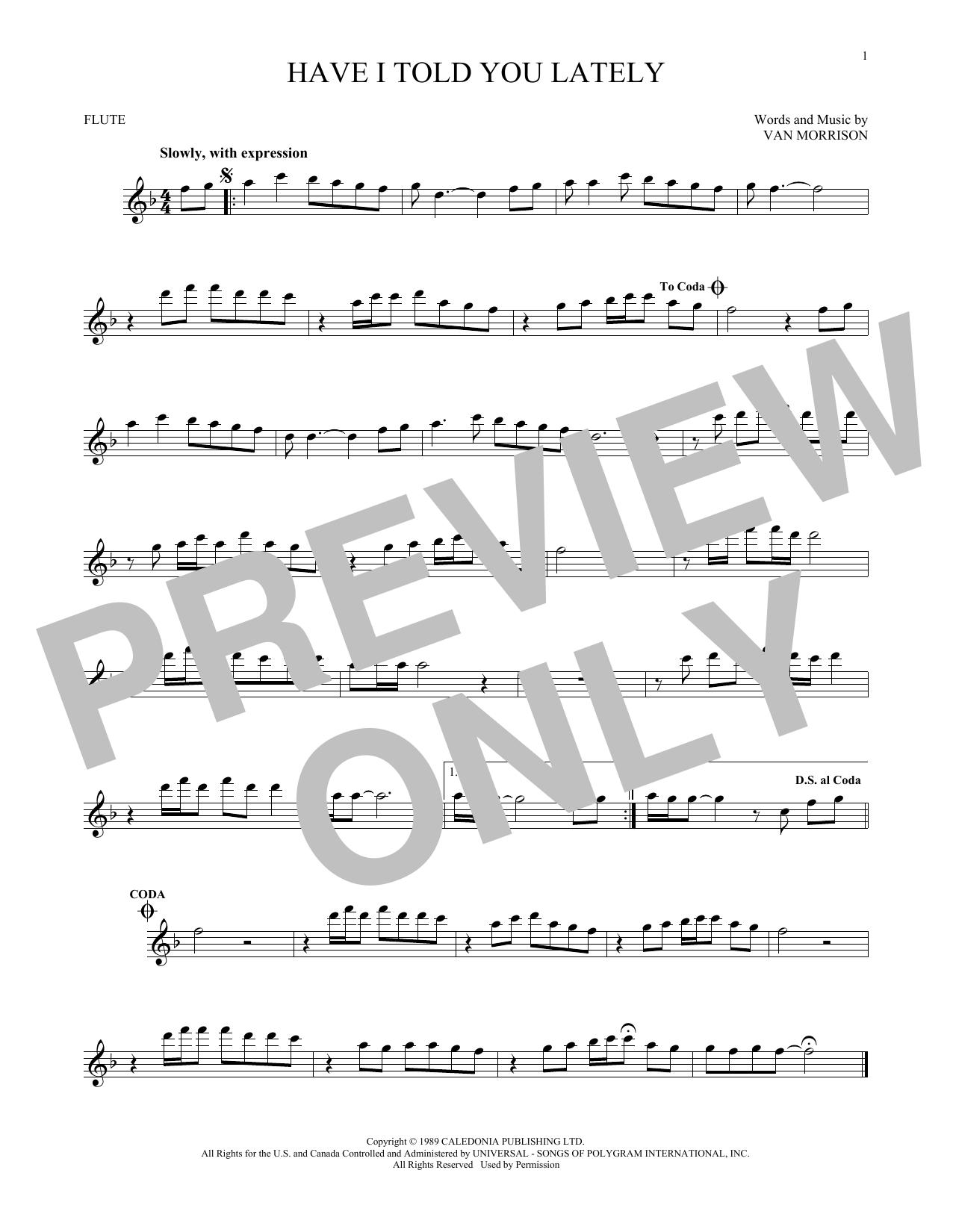 Partition flûte Have I Told You Lately de Van Morrison - Flute traversiere