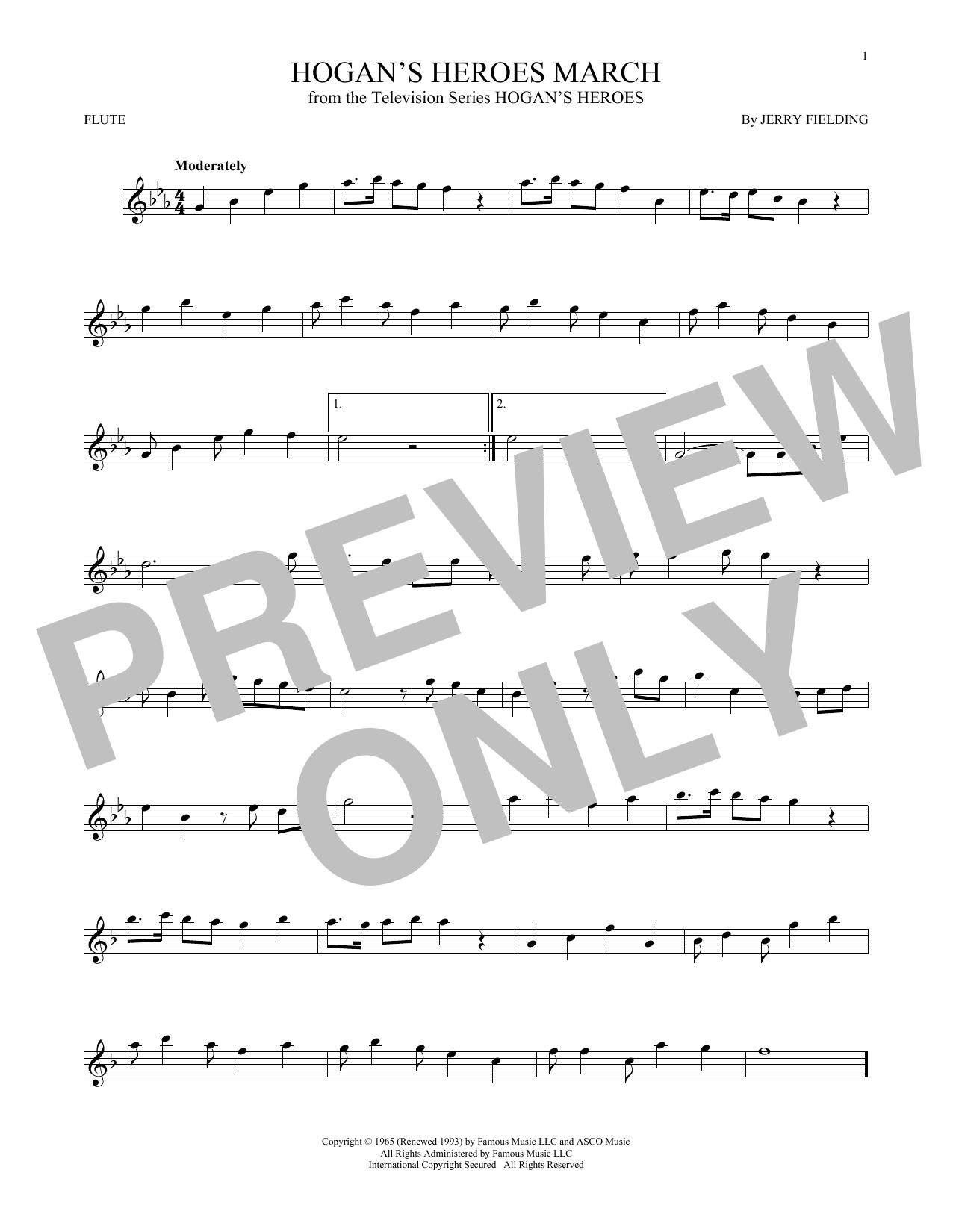 Partition flûte Hogan's Heroes March de Jerry Fielding - Flute traversiere
