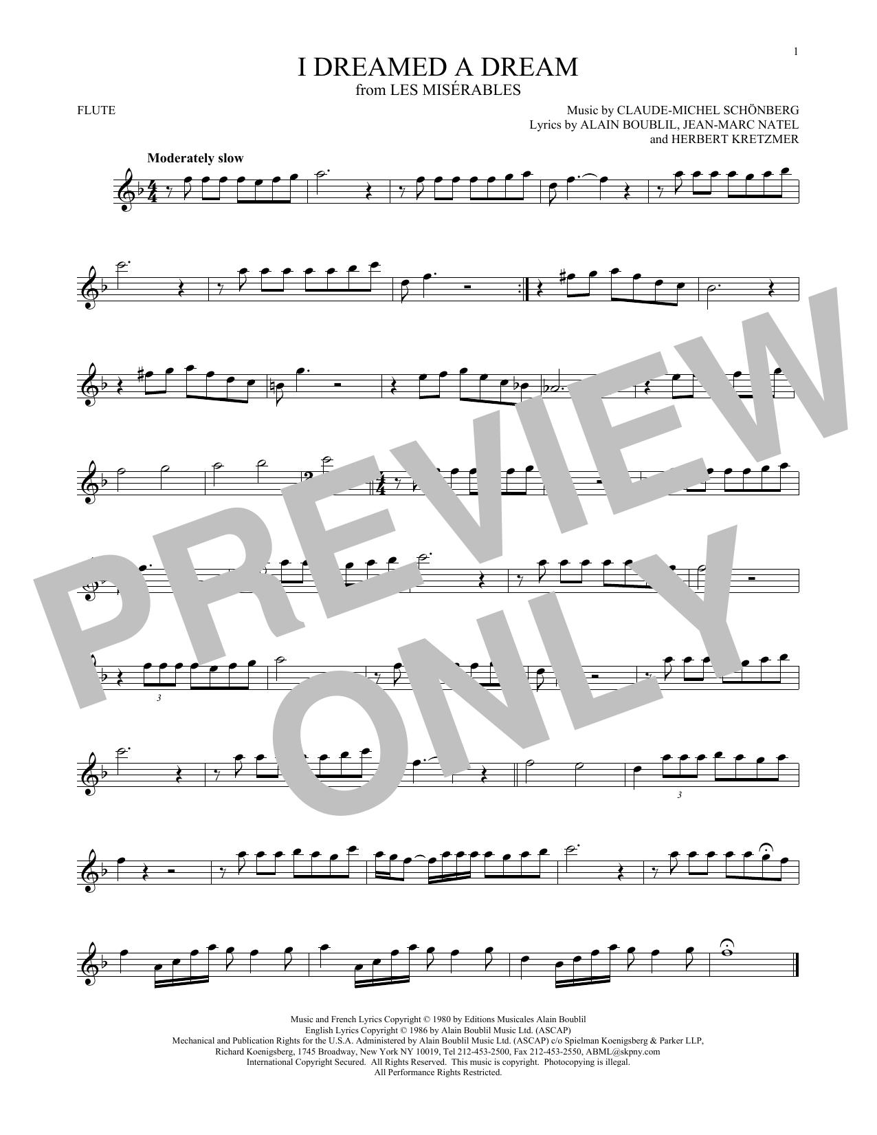 Partition flûte I Dreamed A Dream de Claude-Michel Schonberg - Flute traversiere