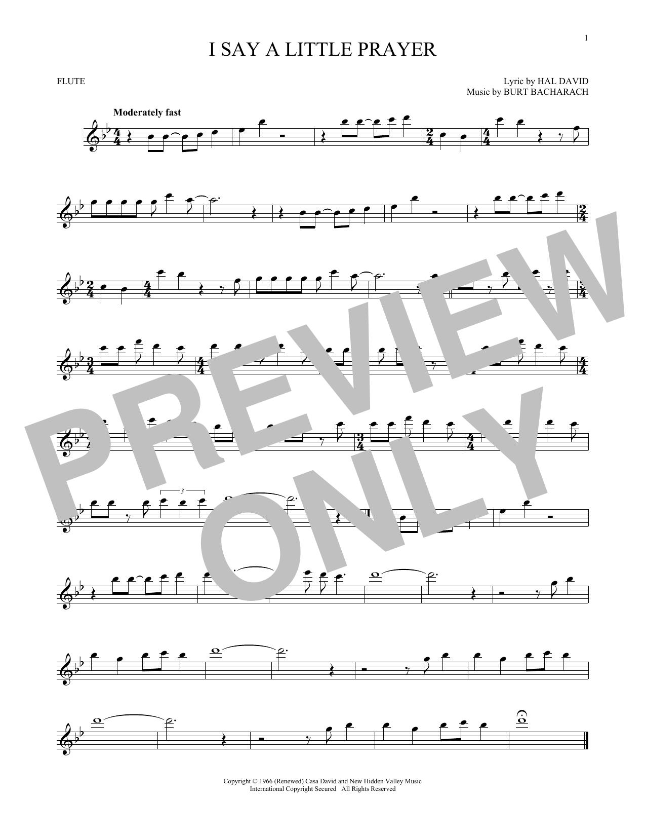 Partition flûte I Say A Little Prayer de Bacharach & David - Flute traversiere