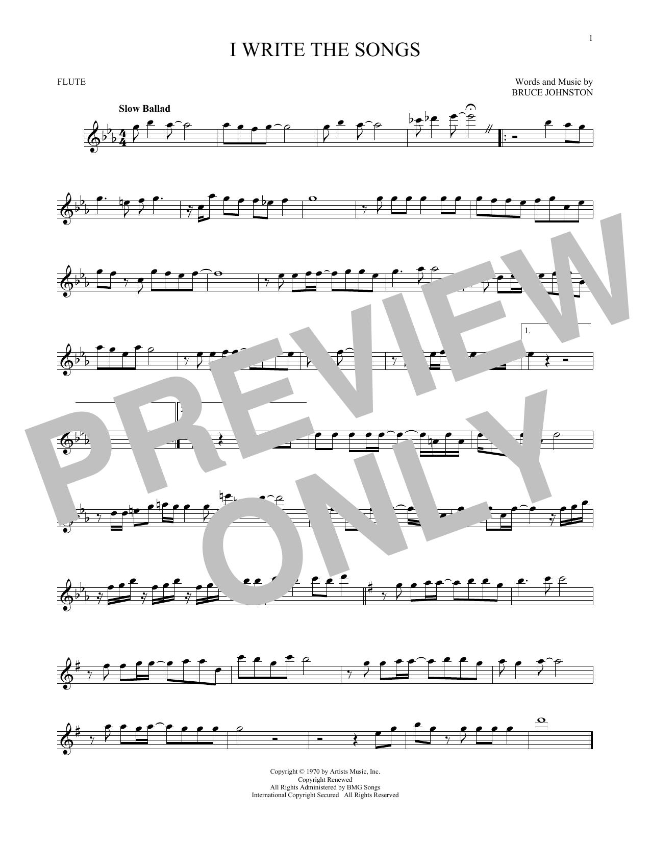 Partition flûte I Write The Songs de Barry Manilow - Flute traversiere