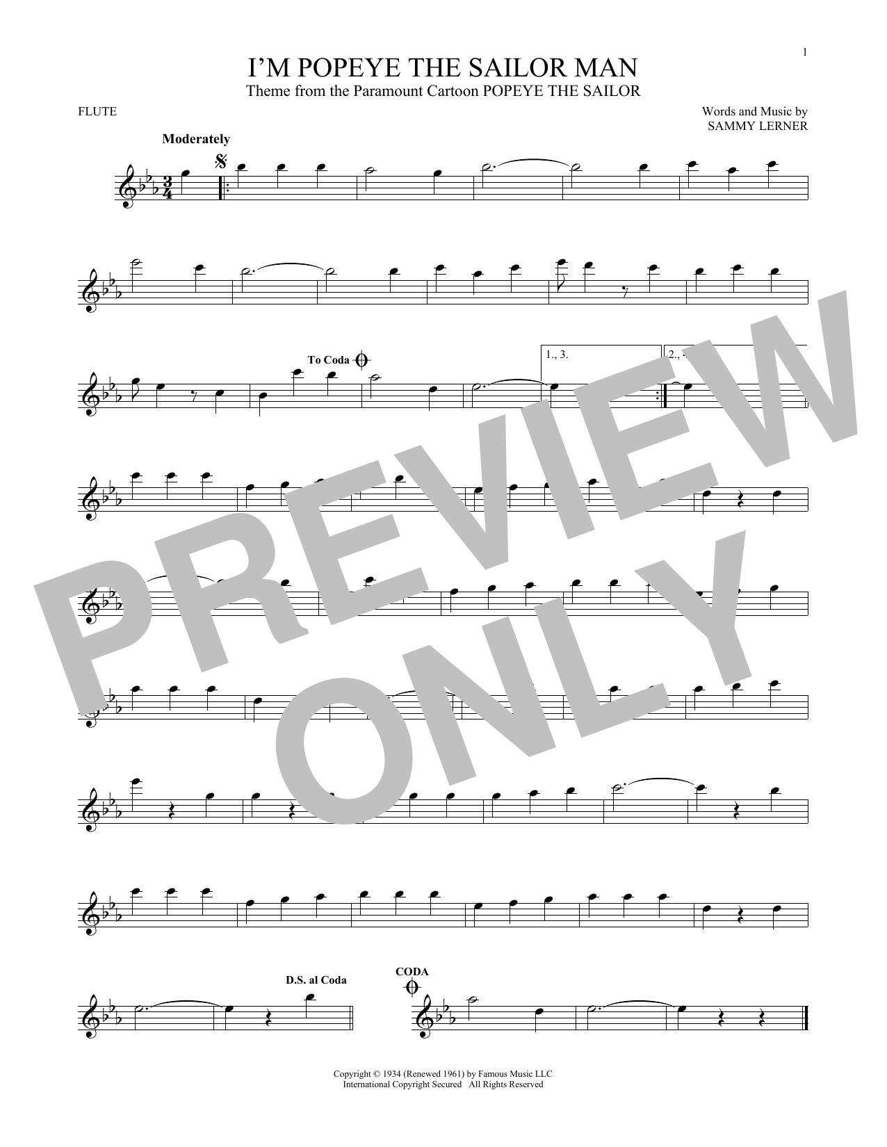 Partition flûte I'm Popeye The Sailor Man de Sammy Lerner - Flute traversiere