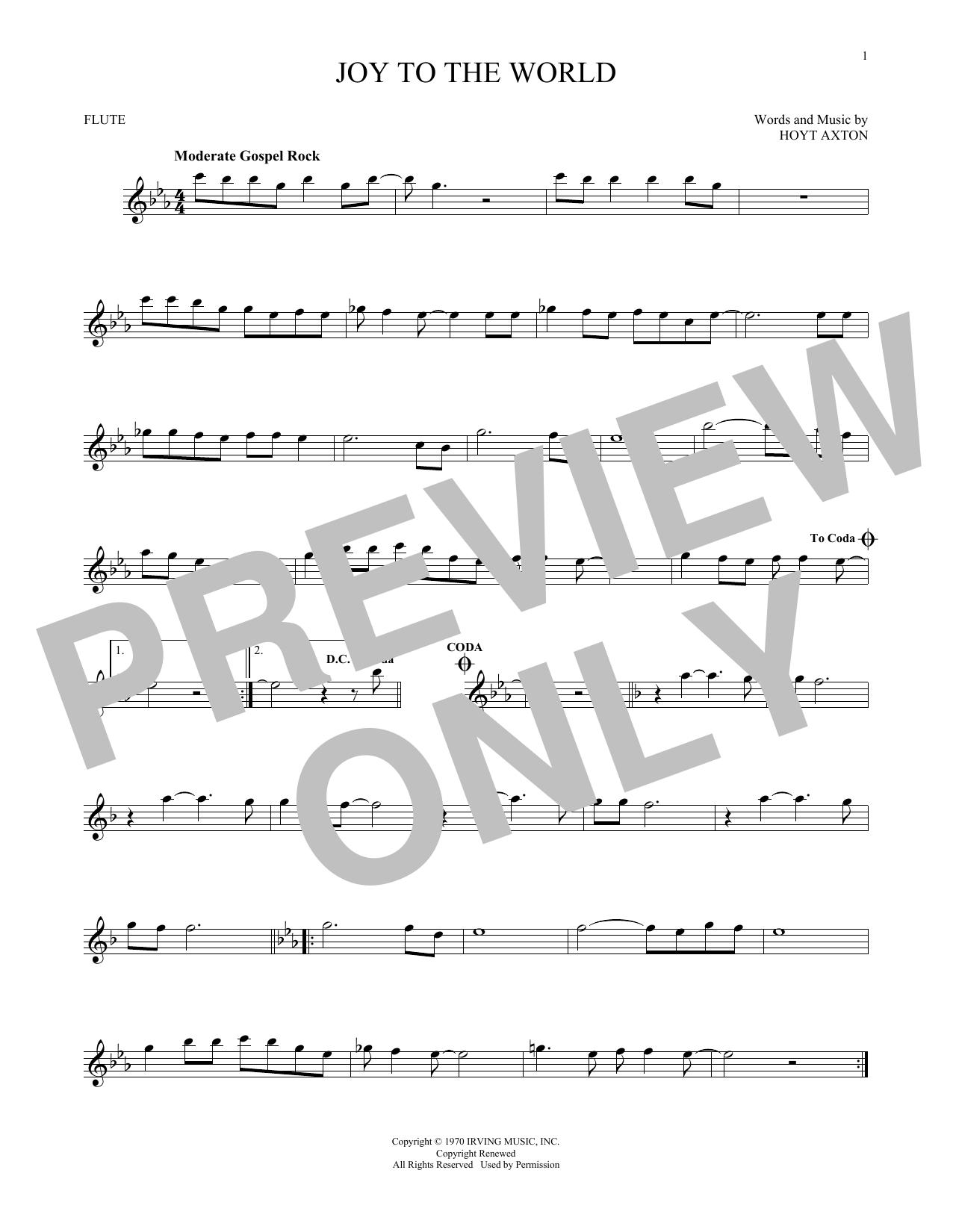 Partition flûte Joy To The World de Three Dog Night - Flute traversiere