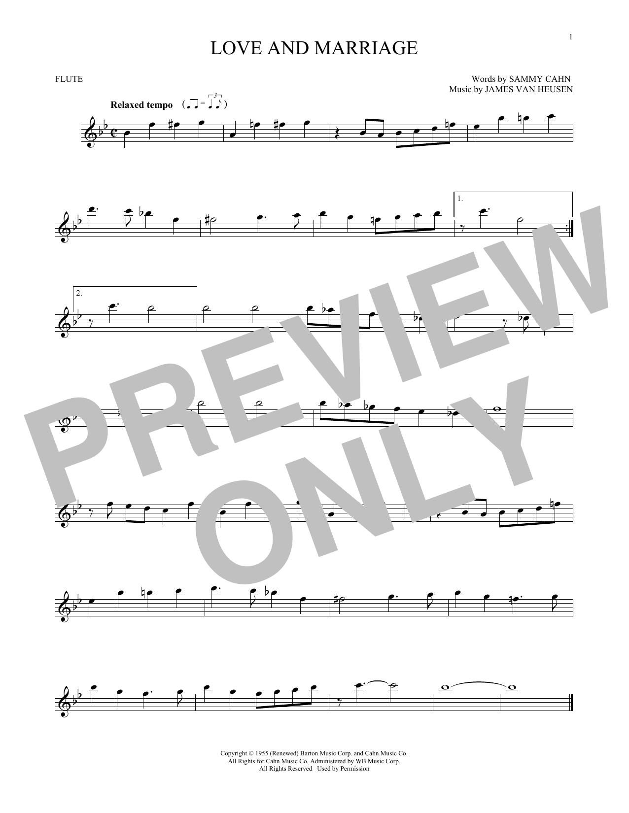 Partition flûte Love And Marriage de Frank Sinatra - Flute traversiere