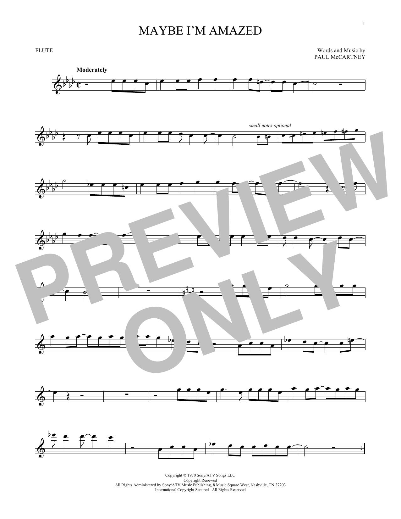 Partition flûte Maybe I'm Amazed de Paul McCartney - Flute traversiere