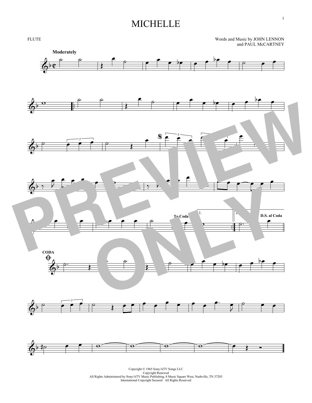 Partition flûte Michelle de The Beatles - Flute traversiere