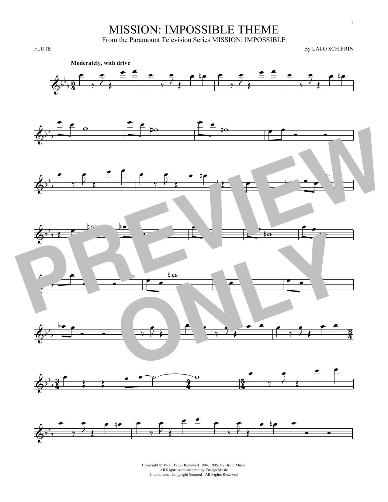 Partition flûte Mission de Lalo Schifrin - Flute traversiere