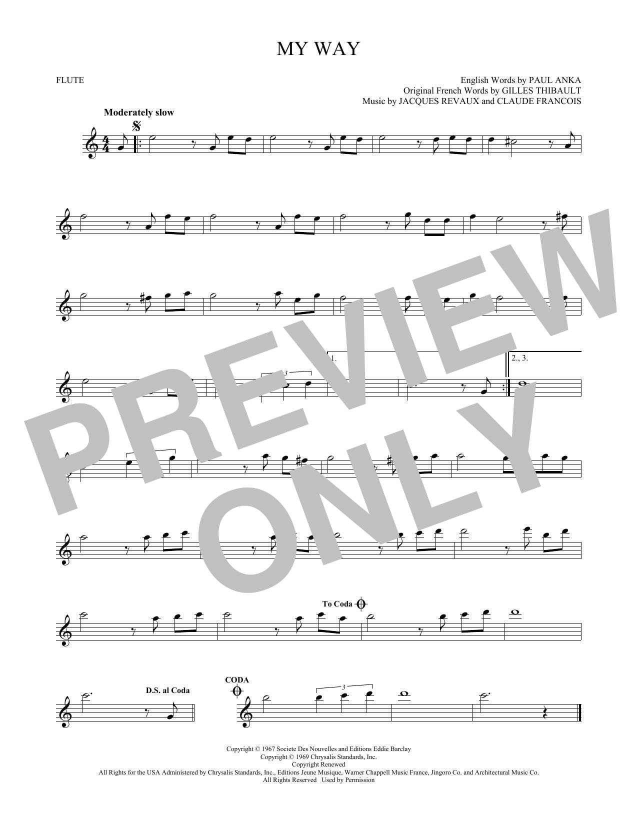Partition flûte My Way de Frank Sinatra - Flute traversiere