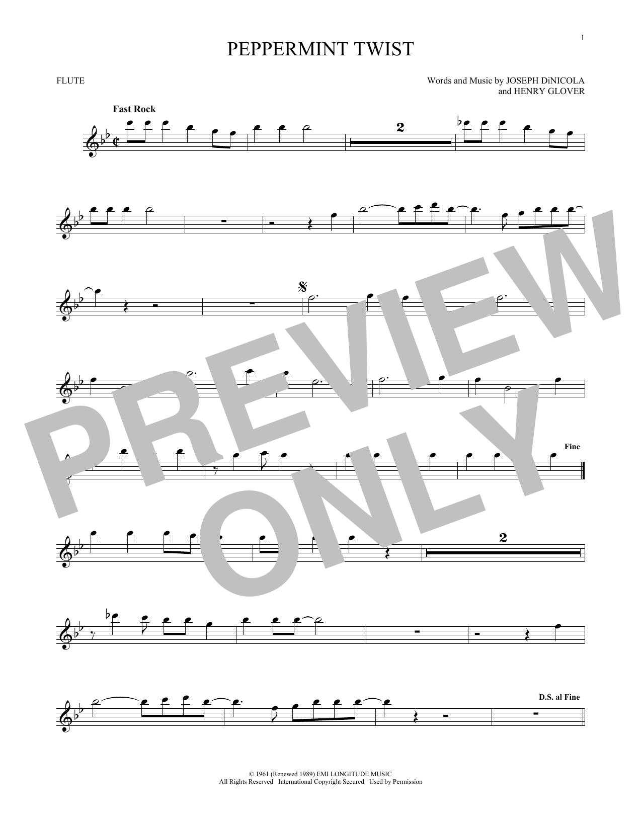 Partition flûte Peppermint Twist de Joey Dee & The Starliters - Flute traversiere