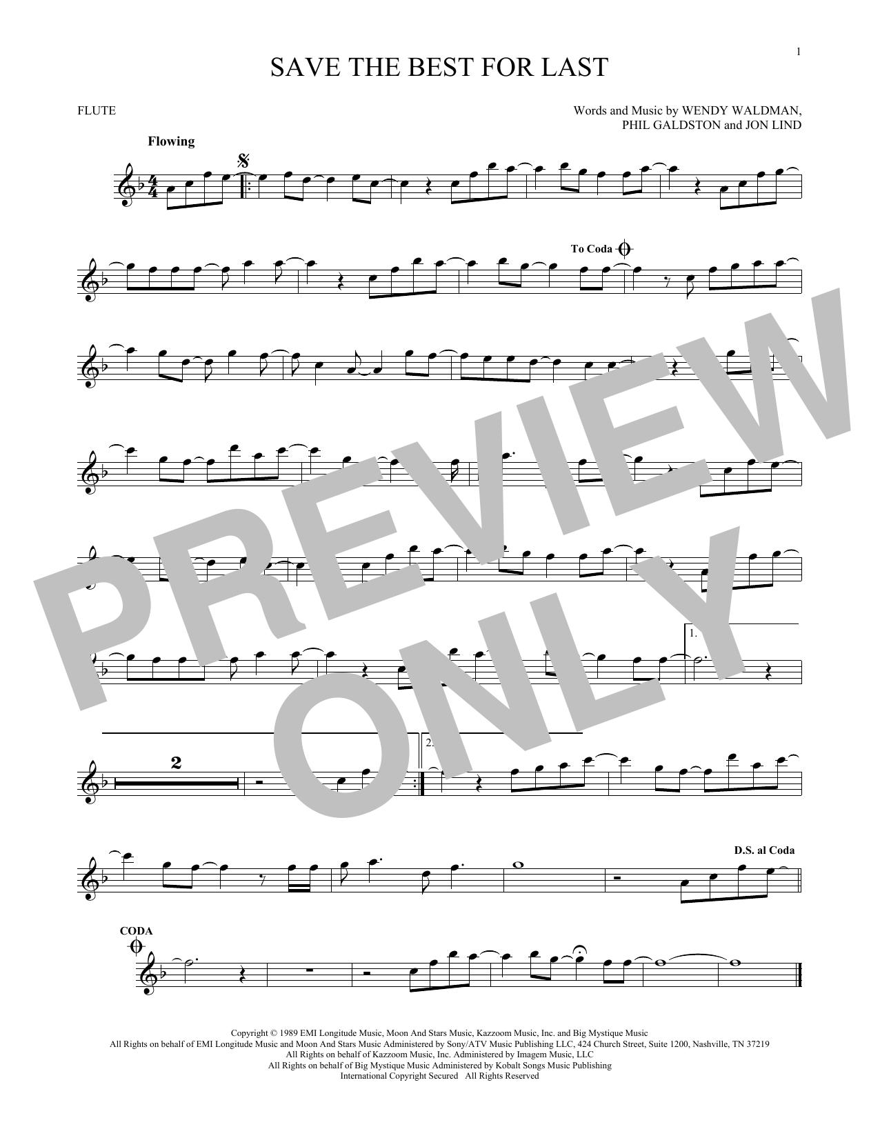 Partition flûte Save The Best For Last de Vanessa Williams - Flute traversiere