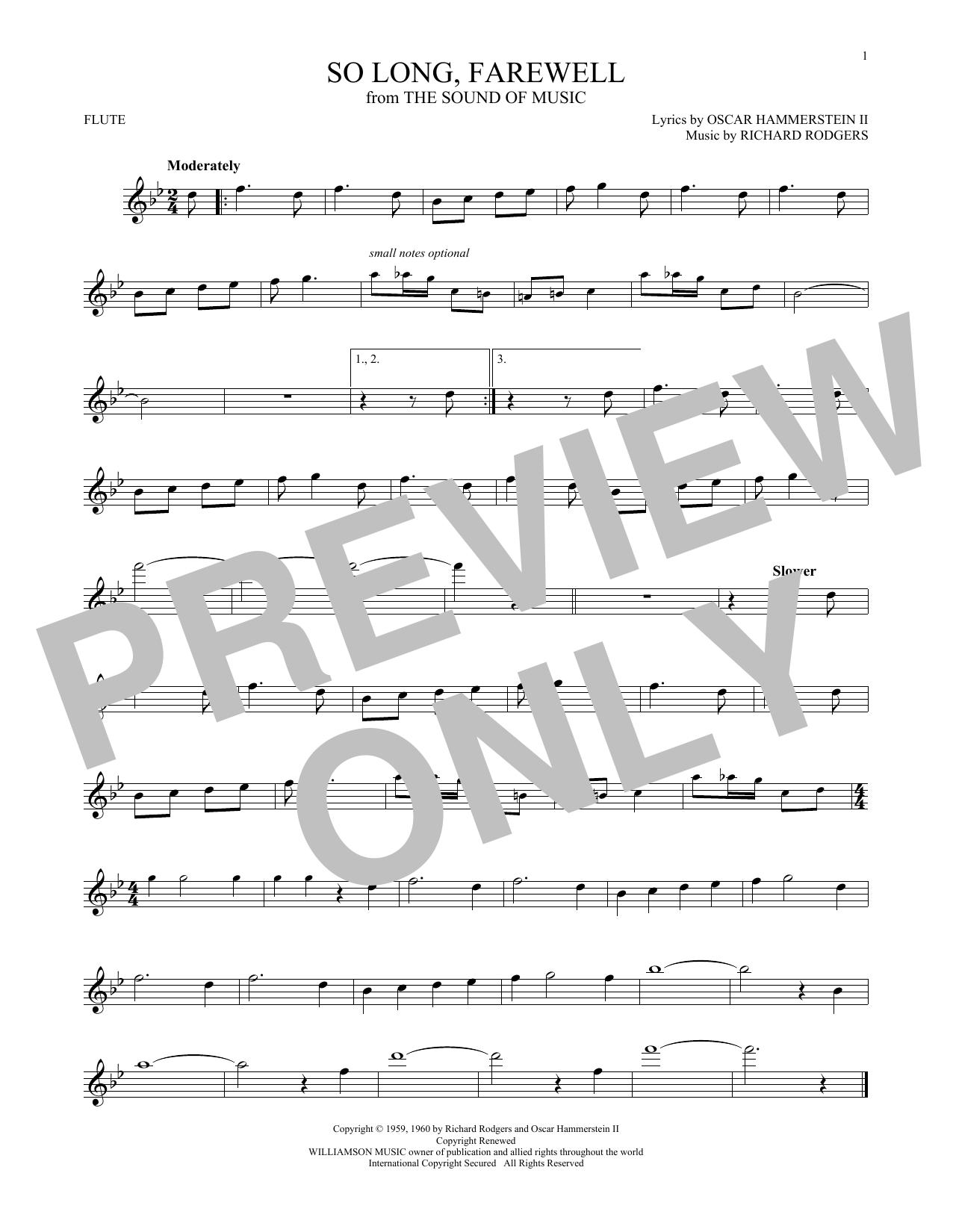 Partition flûte So Long, Farewell de Rodgers & Hammerstein - Flute traversiere