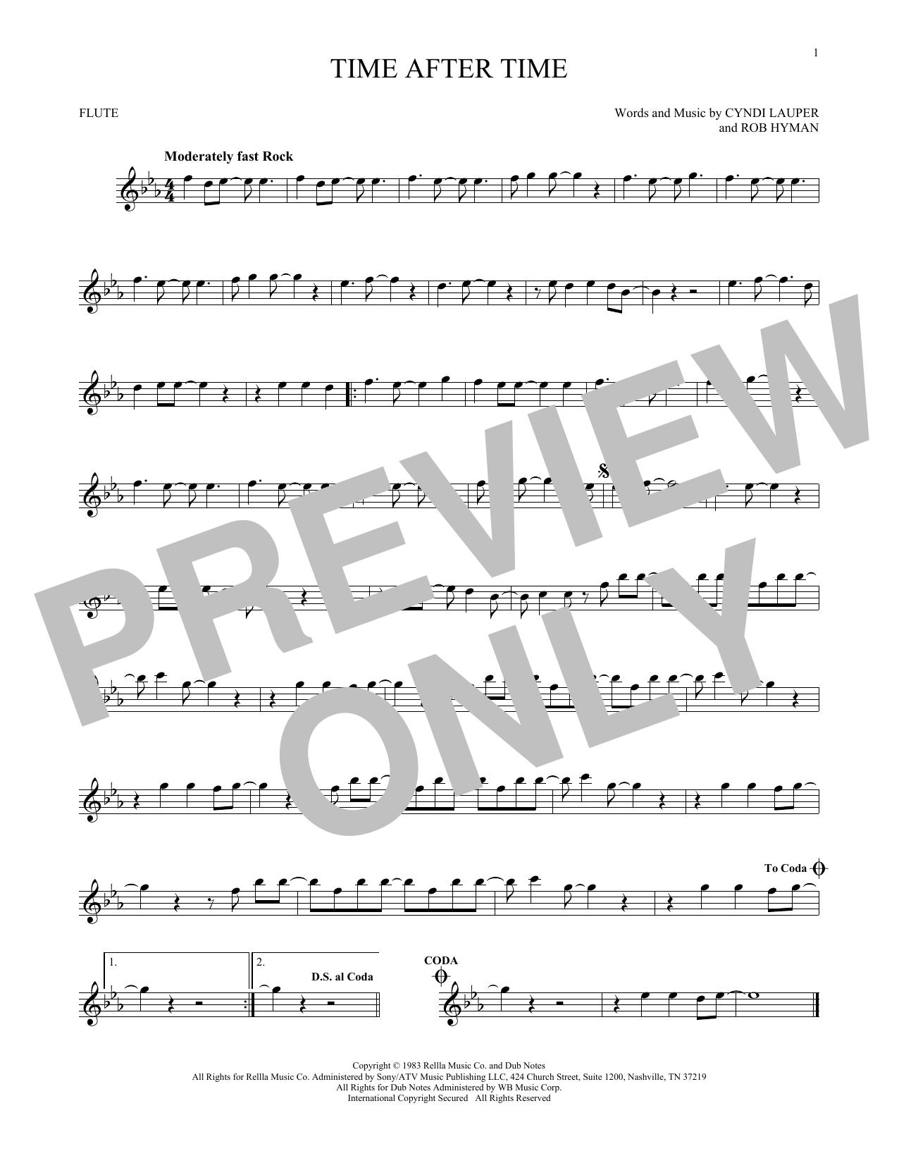 Partition flûte Time After Time de Cyndi Lauper - Flute traversiere
