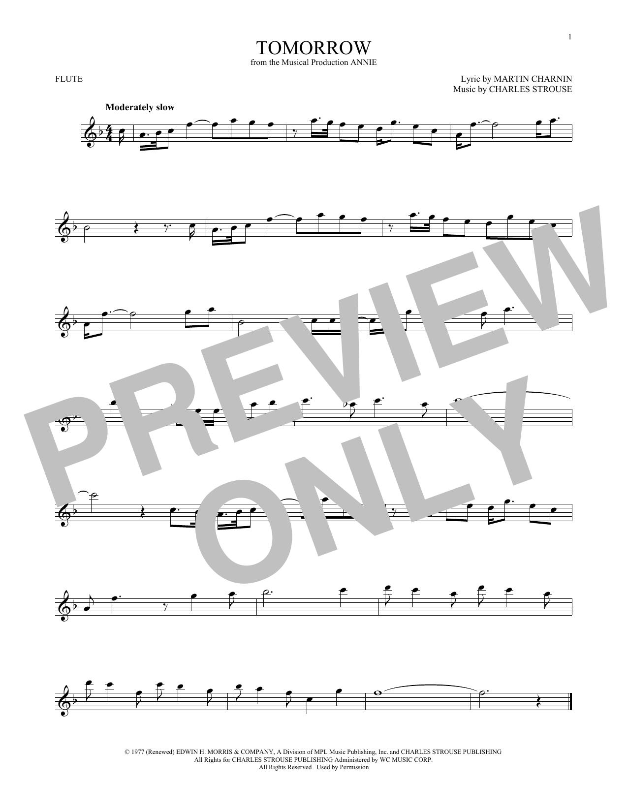 Partition flûte Tomorrow de Charles Strouse - Flute traversiere