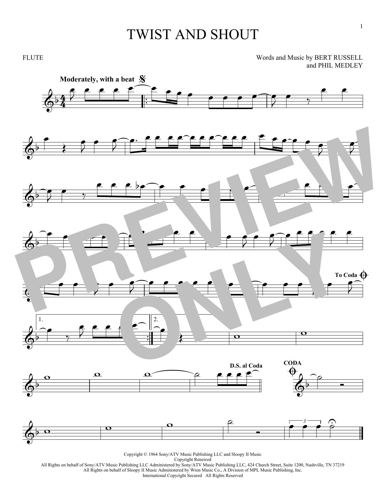 Partition flûte Twist And Shout de The Beatles - Flute traversiere