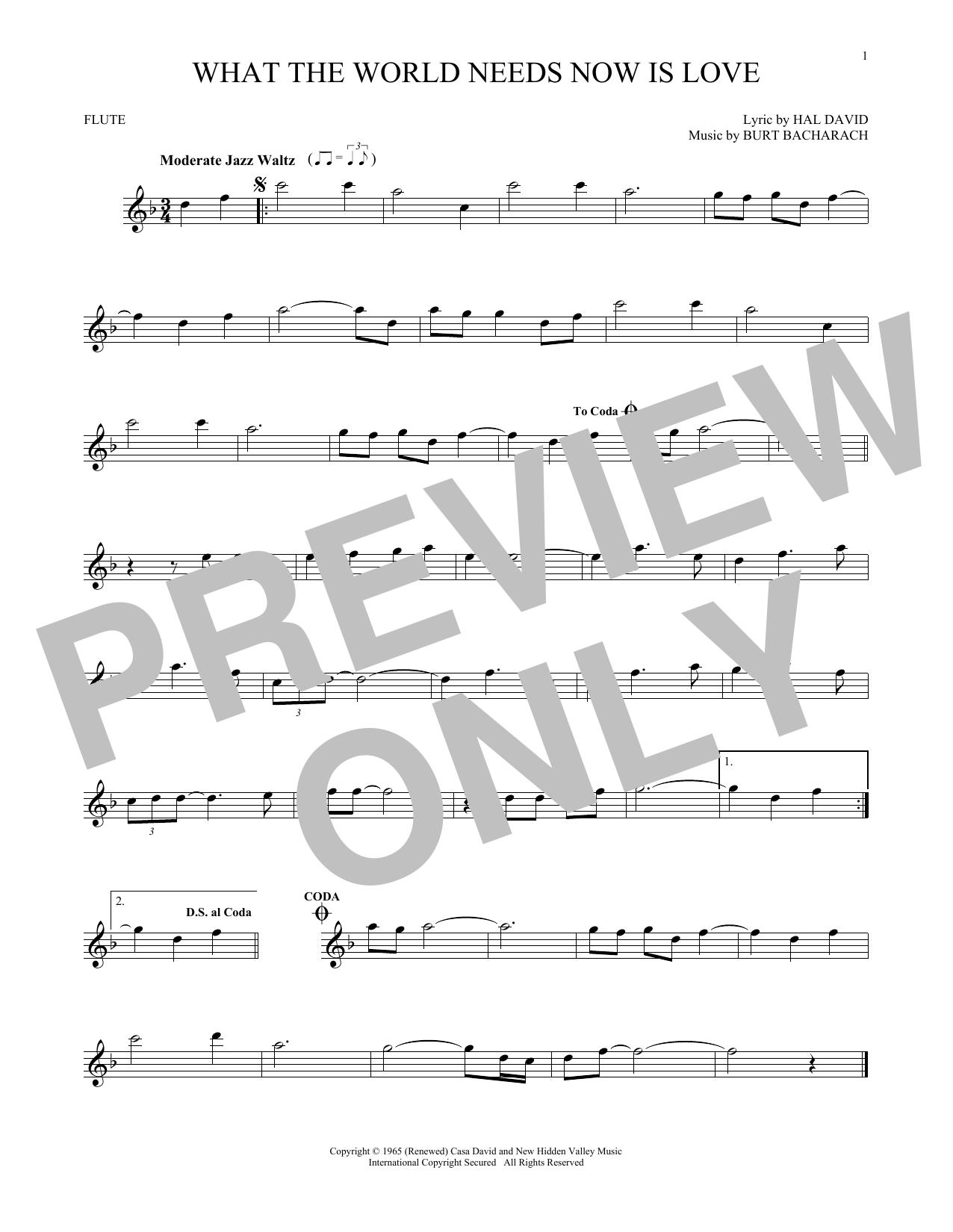 Partition flûte What The World Needs Now Is Love de Bacharach & David - Flute traversiere