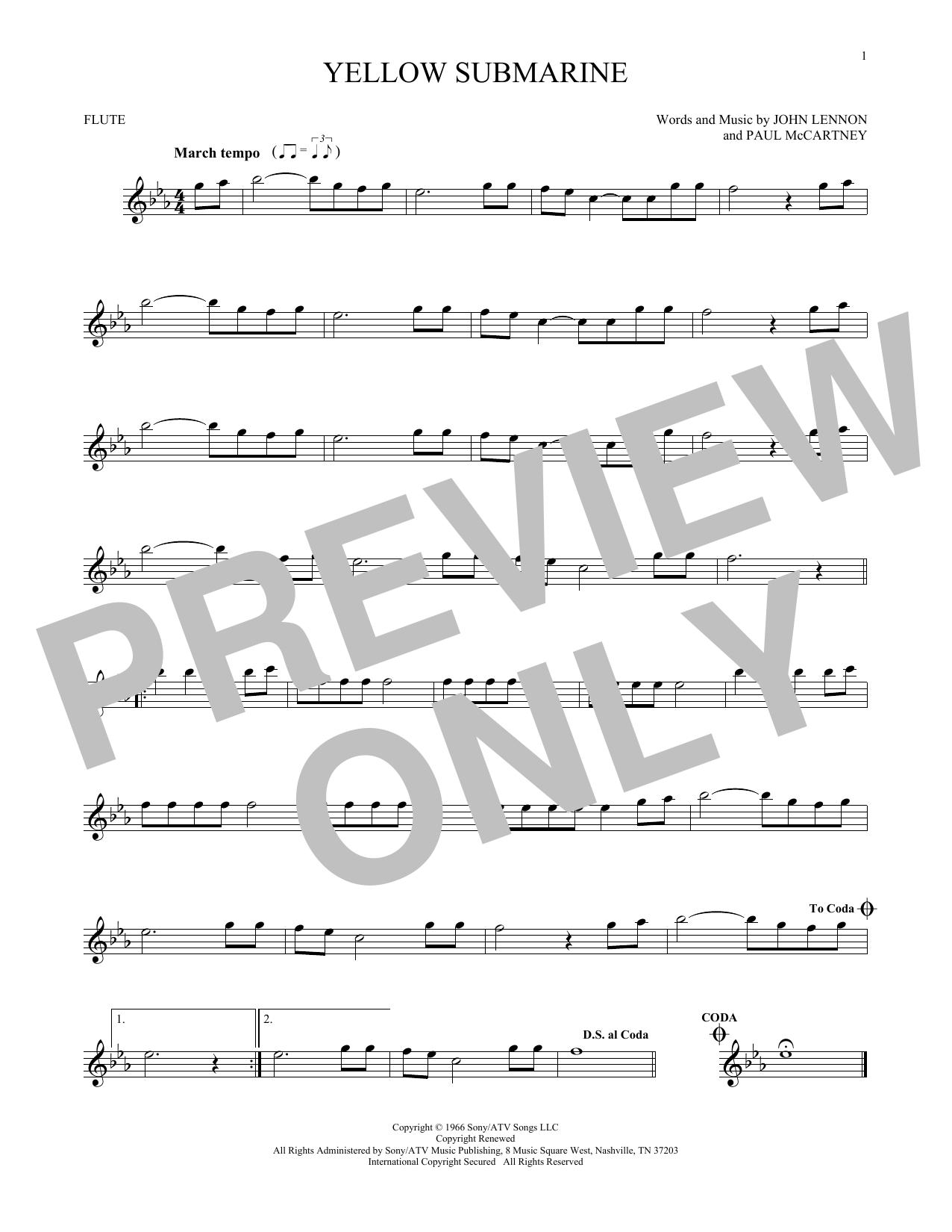 Partition flûte Yellow Submarine de The Beatles - Flute traversiere