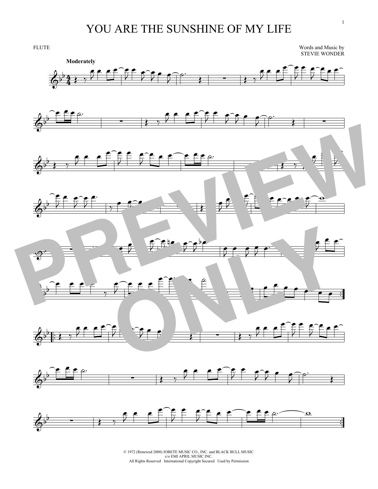 Partition flûte You Are The Sunshine Of My Life de Stevie Wonder - Flute traversiere