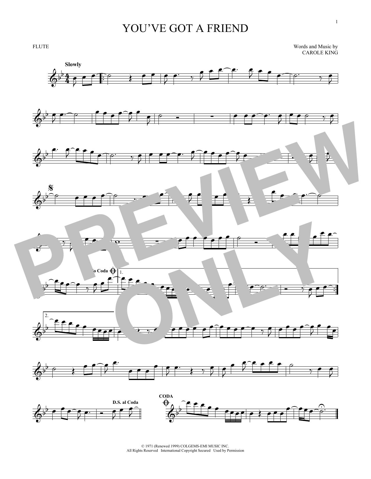 Partition flûte You've Got A Friend de James Taylor - Flute traversiere