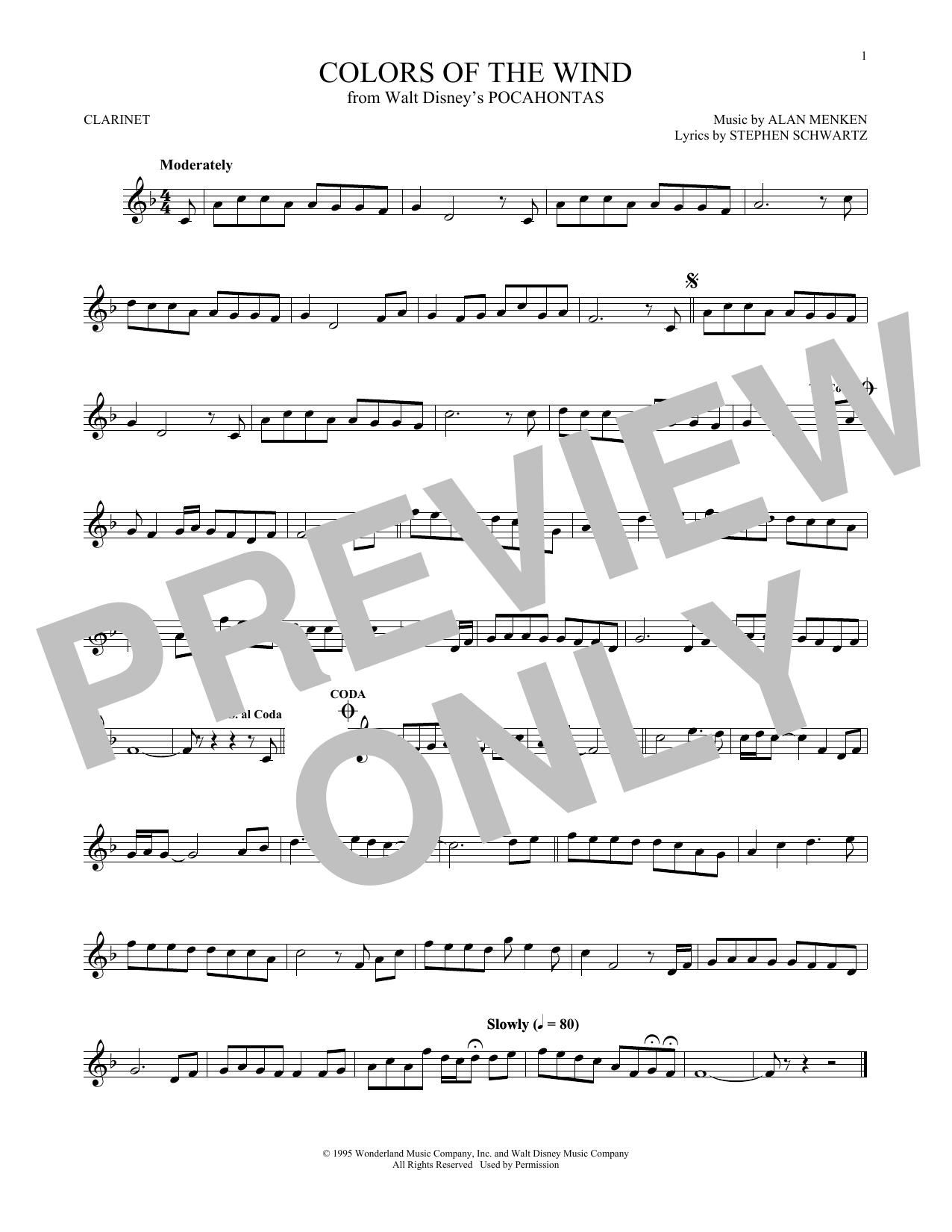 Partition clarinette Colors Of The Wind de Vanessa Williams - Clarinette
