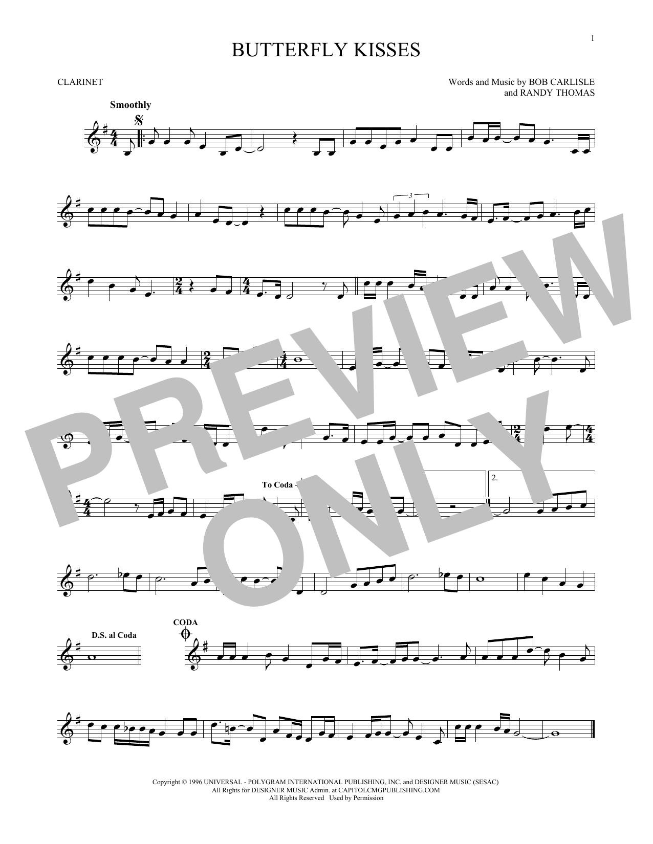Partition clarinette Butterfly Kisses de Bob Carlisle - Clarinette