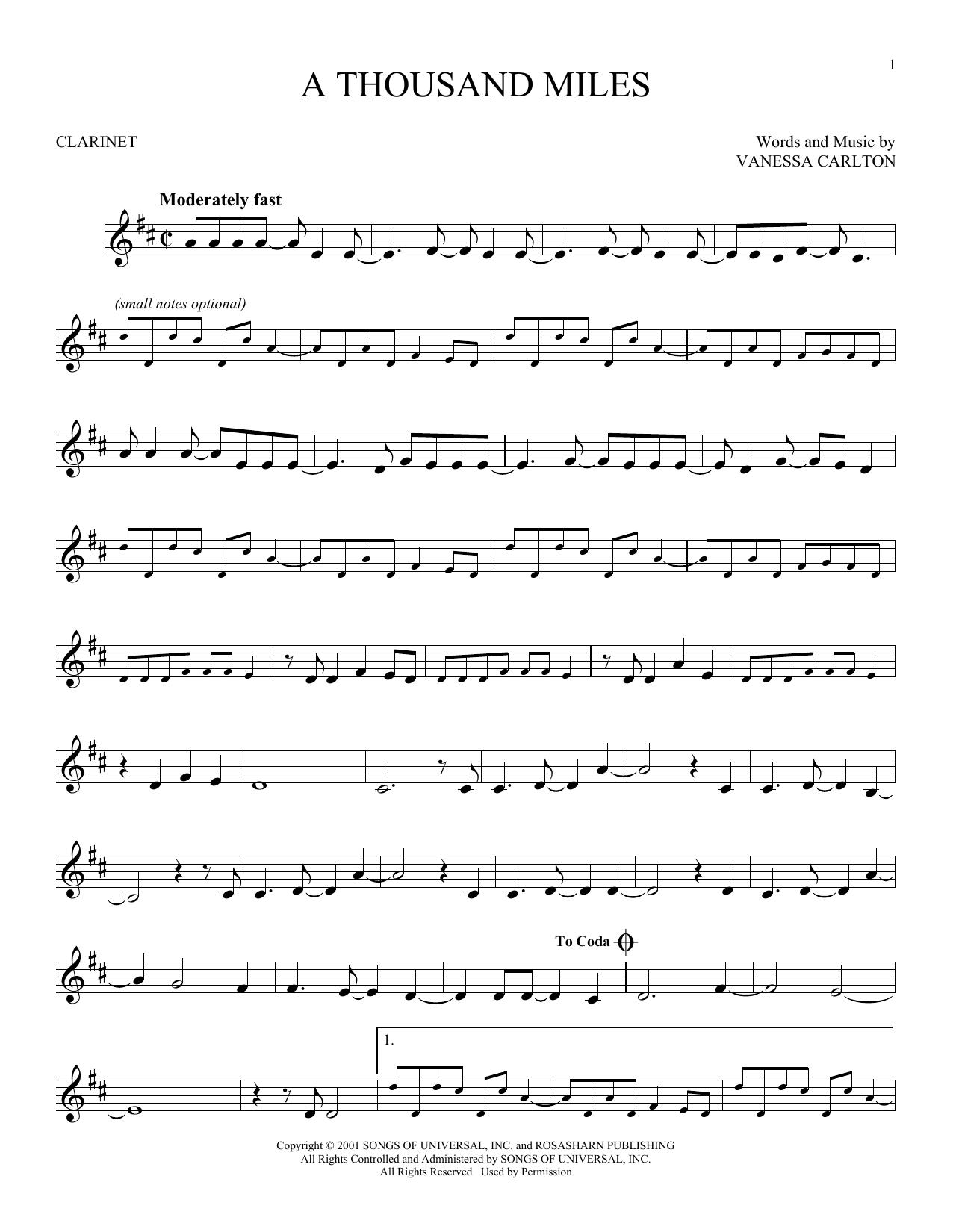 Partition clarinette A Thousand Miles de Vanessa Carlton - Clarinette