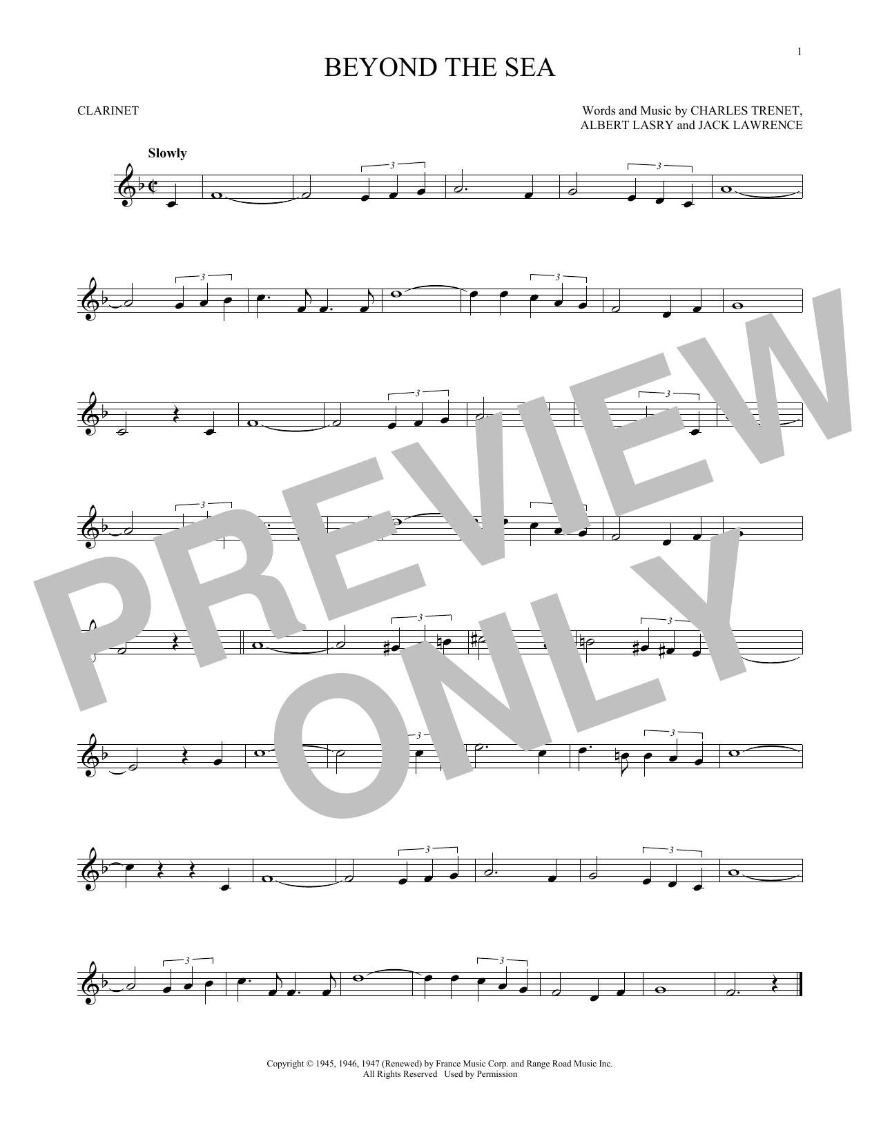 Partition clarinette Beyond The Sea de Bobby Darin - Clarinette
