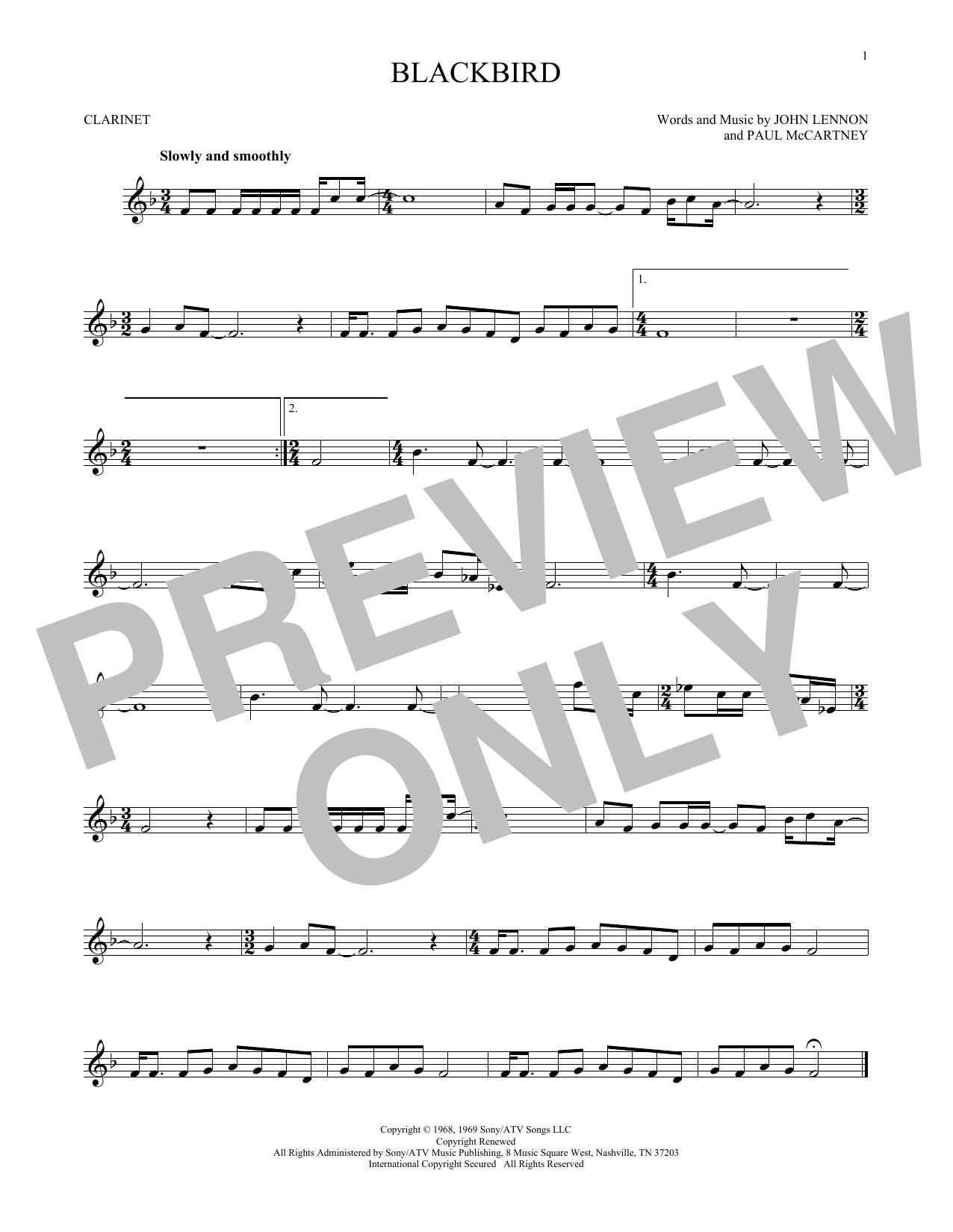 Partition clarinette Blackbird de The Beatles - Clarinette
