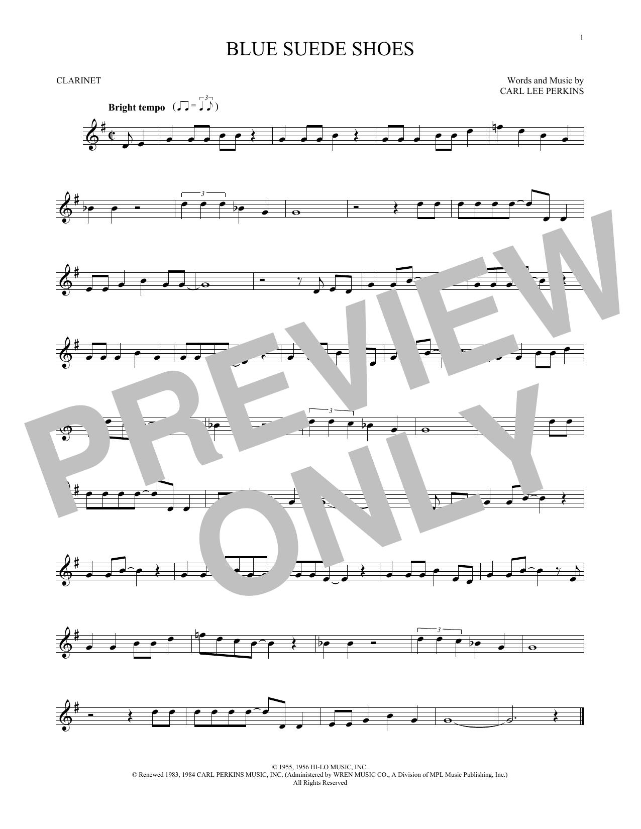 Partition clarinette Blue Suede Shoes de Carl Perkins - Clarinette