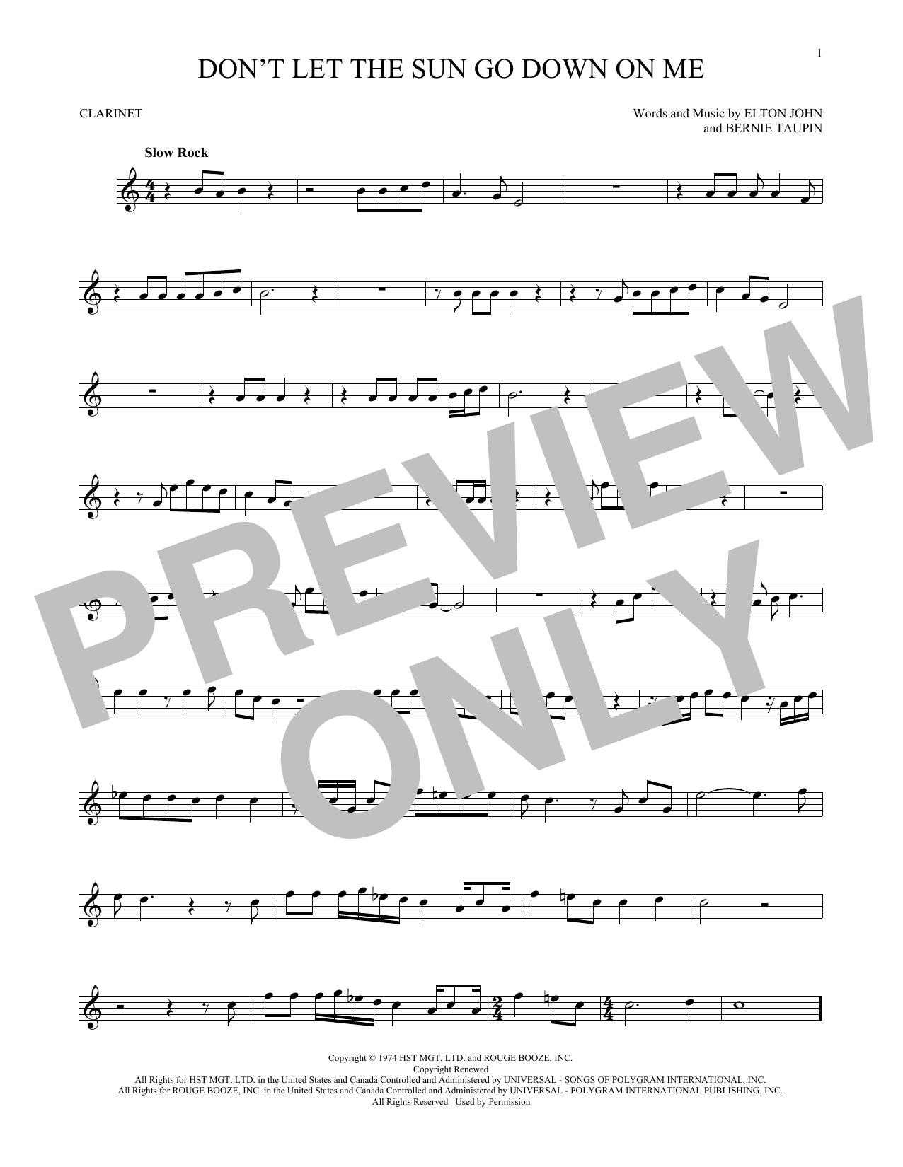 Partition clarinette Don't Let The Sun Go Down On Me de Elton John & George Michael - Clarinette
