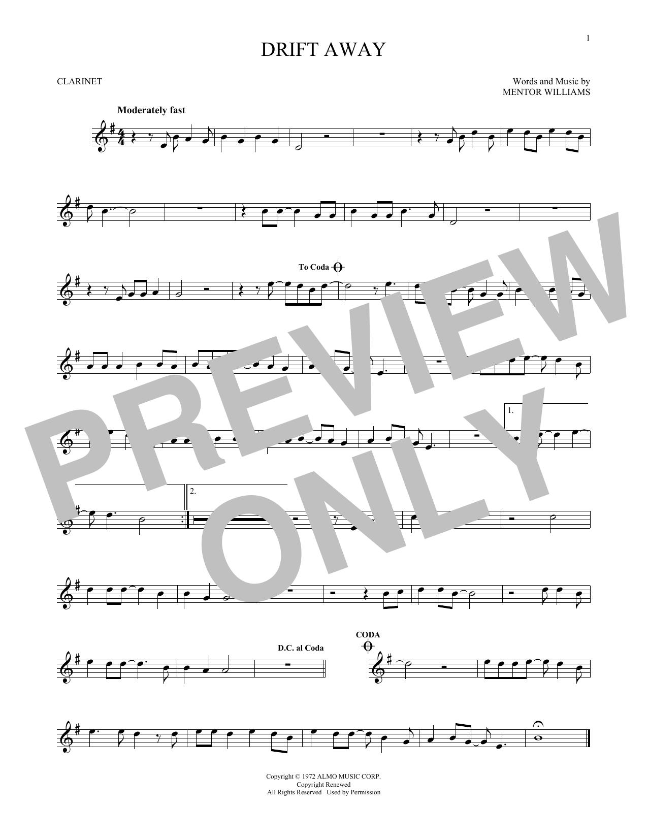 Partition clarinette Drift Away de Dobie Gray - Clarinette