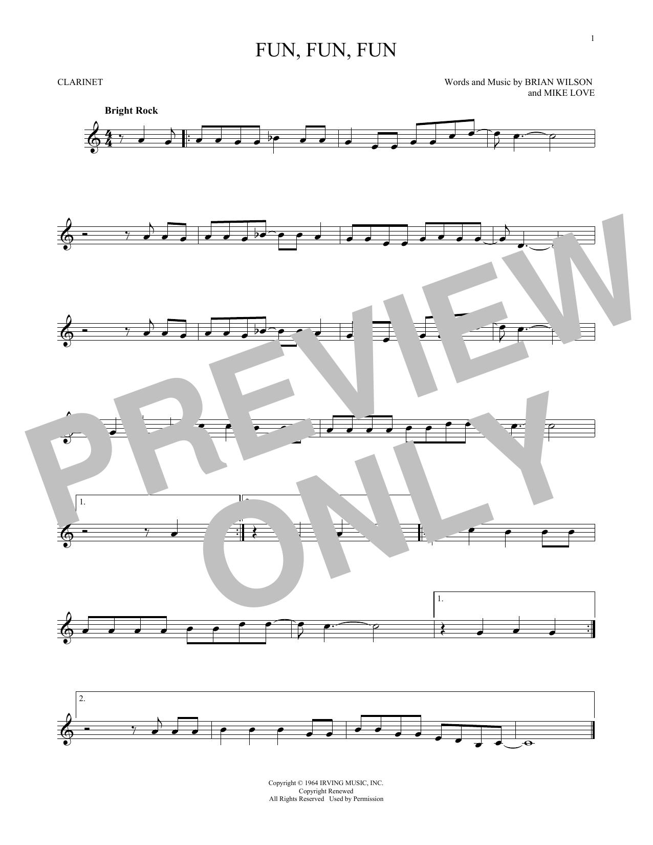 Partition clarinette Fun, Fun, Fun de The Beach Boys - Clarinette