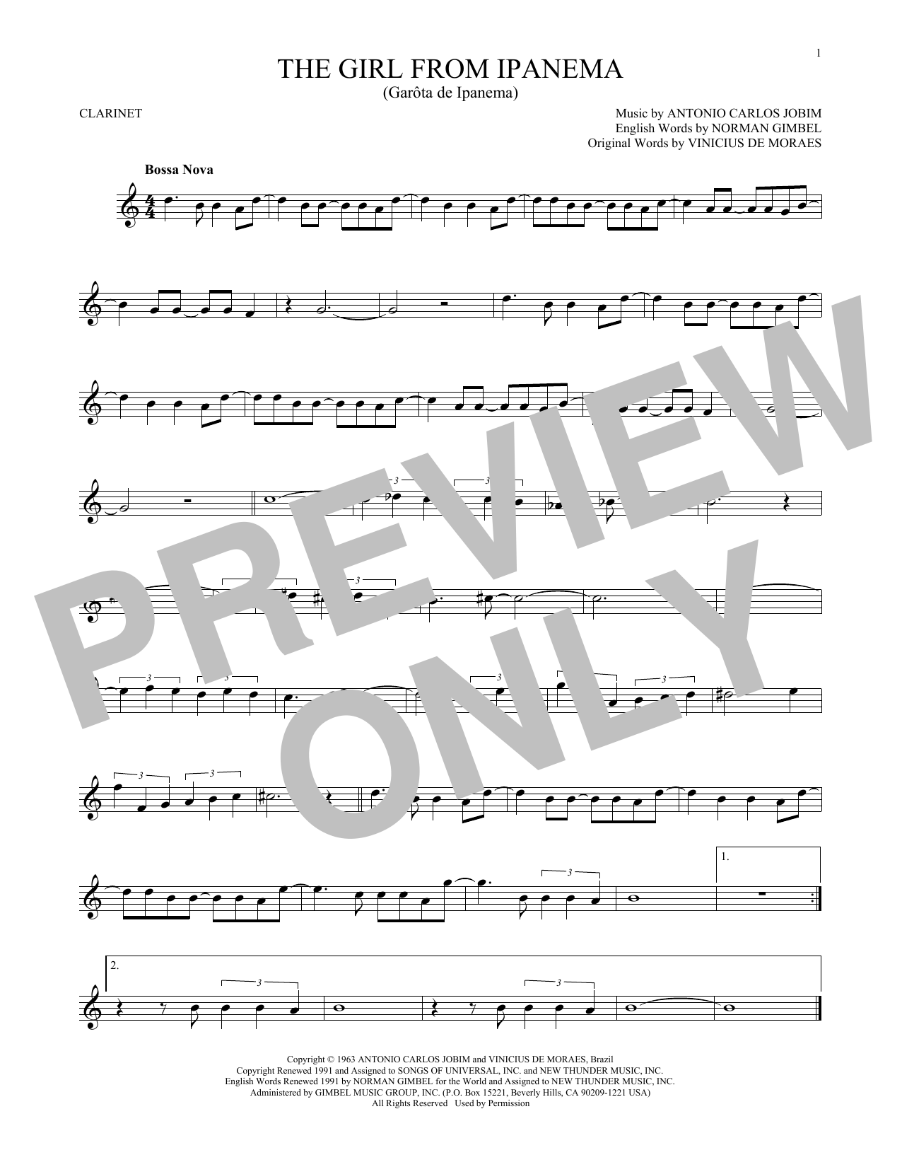 Partition clarinette The Girl From Ipanema de Antonio Carlos Jobim - Clarinette