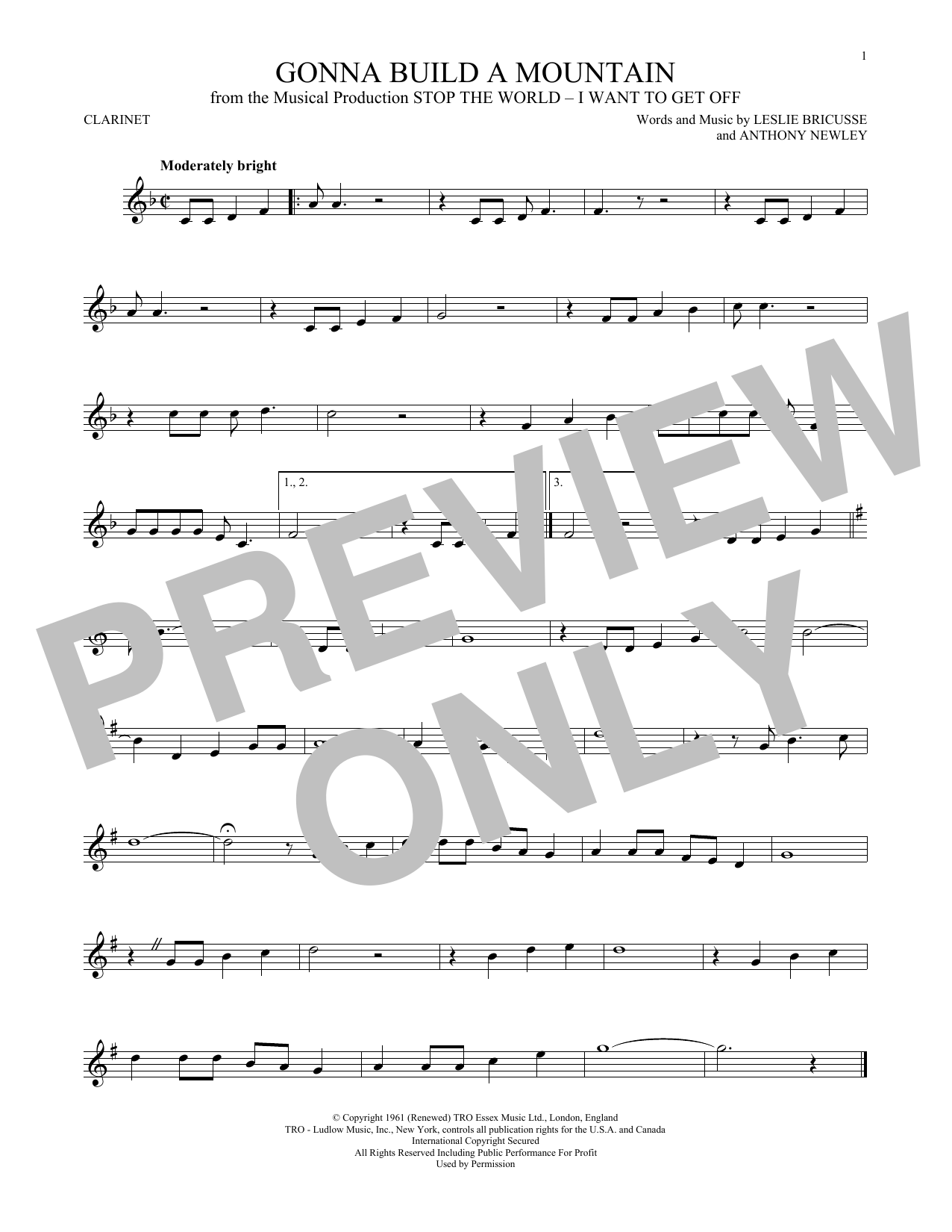 Partition clarinette Gonna Build A Mountain de Leslie Bricusse - Clarinette