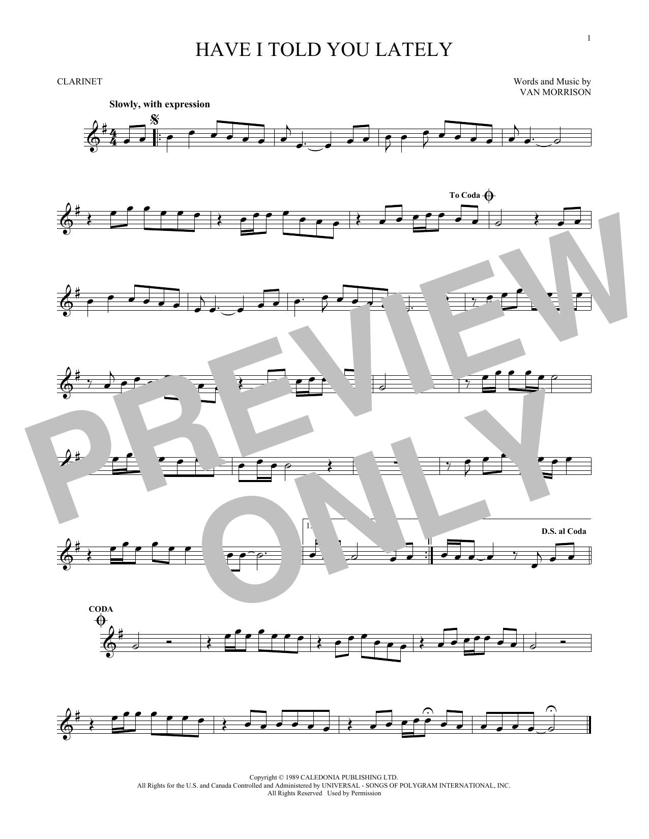 Partition clarinette Have I Told You Lately de Van Morrison - Clarinette