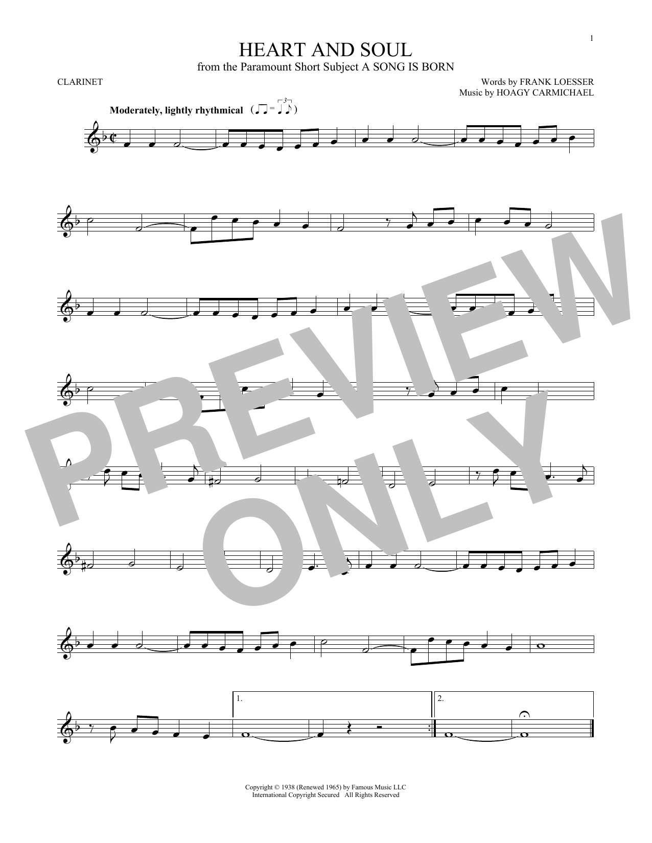 Partition clarinette Heart And Soul de Hoagy Carmichael - Clarinette