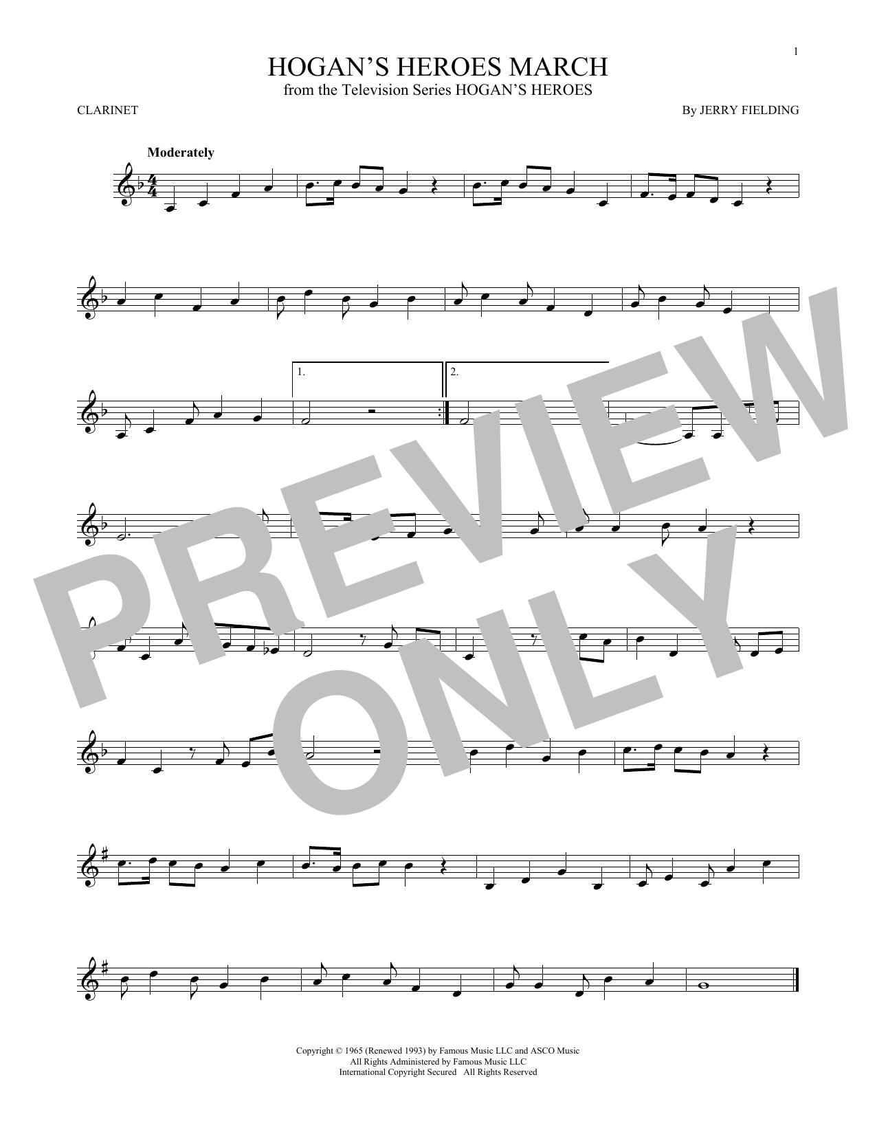 Partition clarinette Hogan's Heroes March de Jerry Fielding - Clarinette