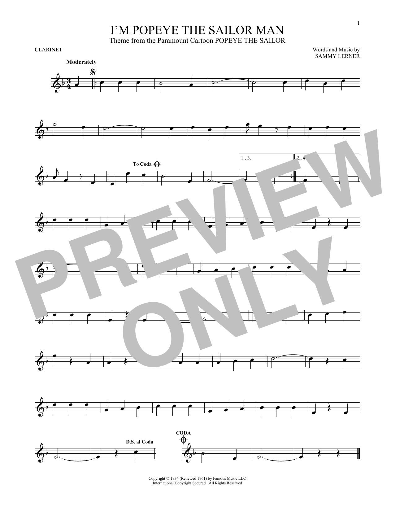 Partition clarinette I'm Popeye The Sailor Man de Sammy Lerner - Clarinette