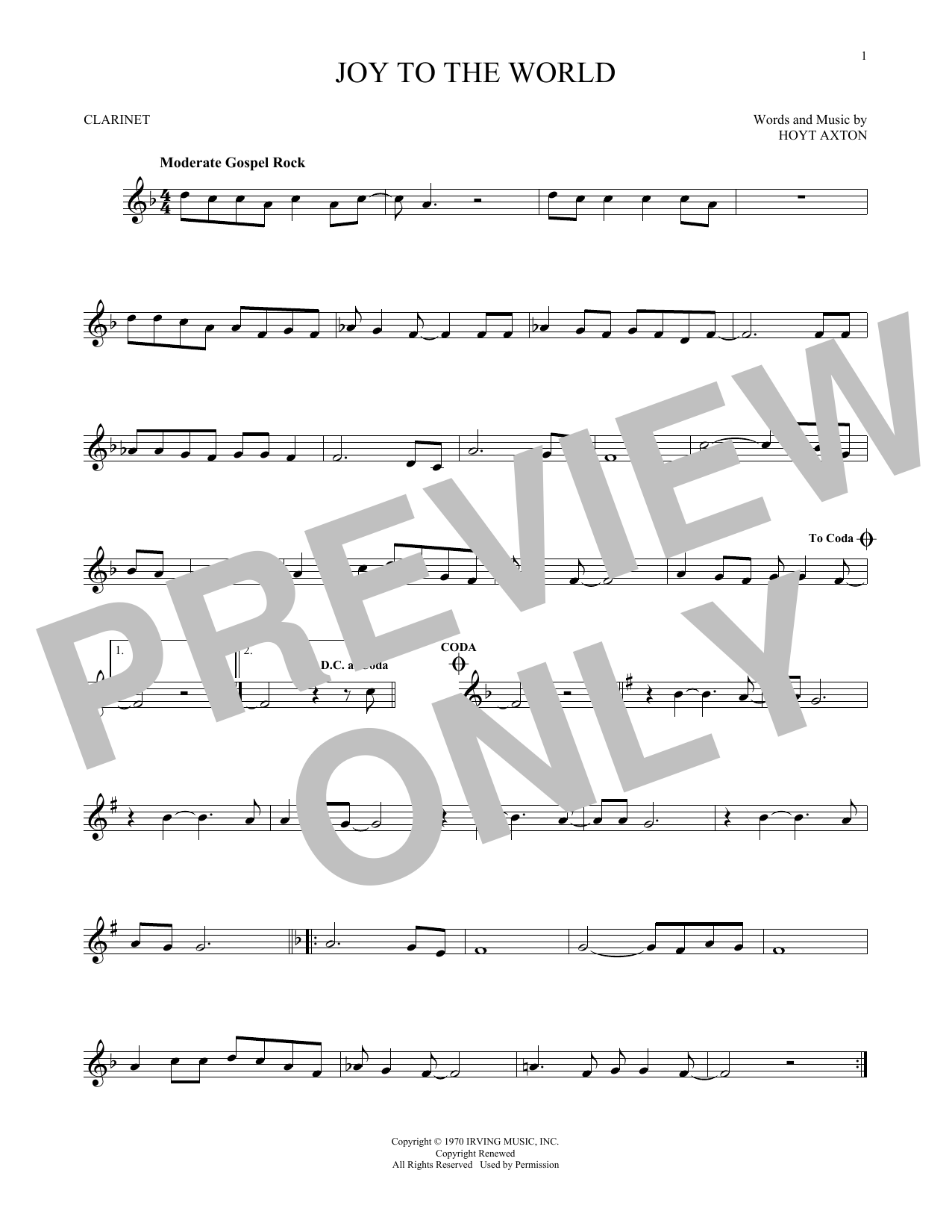 Partition clarinette Joy To The World de Three Dog Night - Clarinette