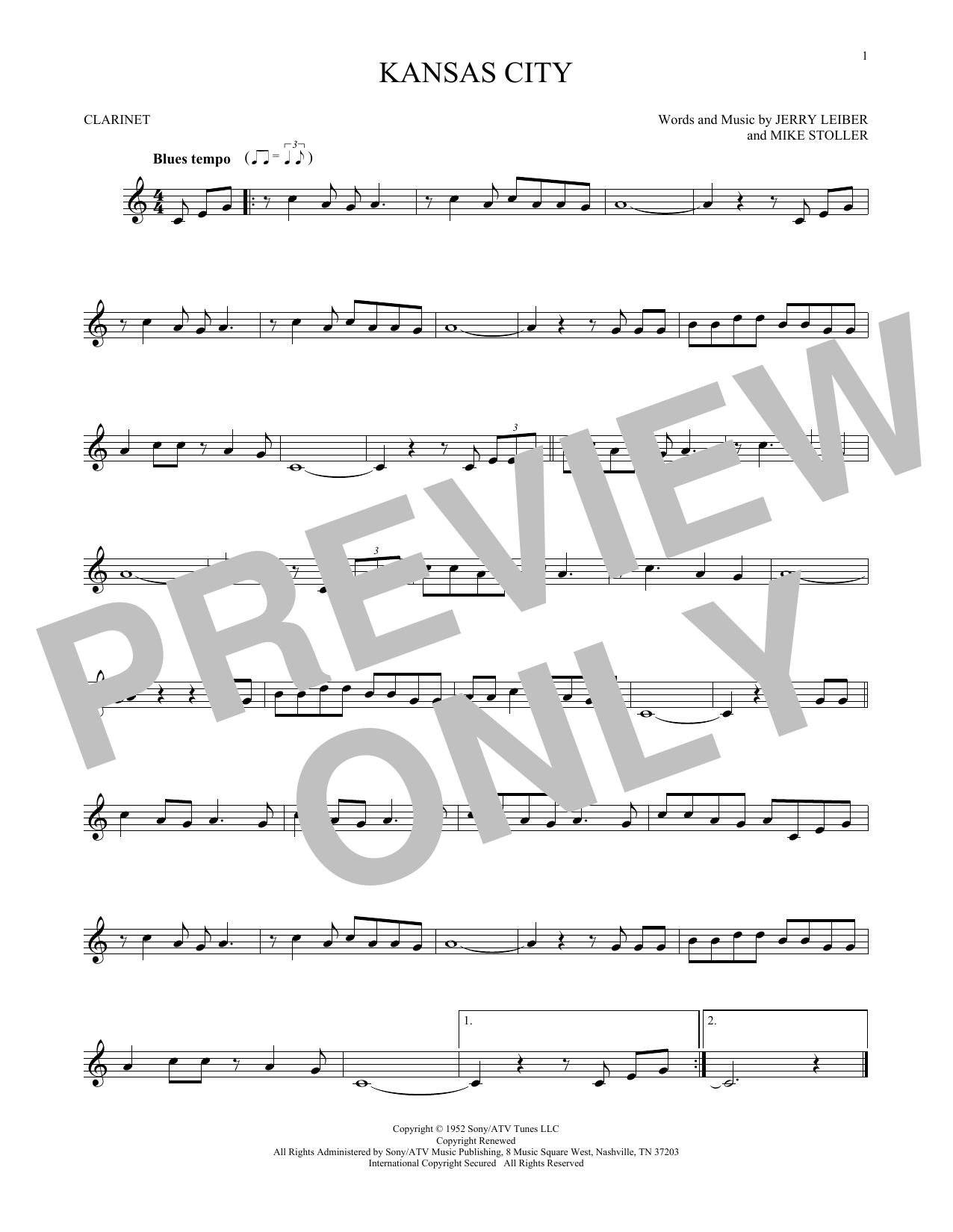 Partition clarinette Kansas City de Jerry Lieber & Mike Stoller - Clarinette