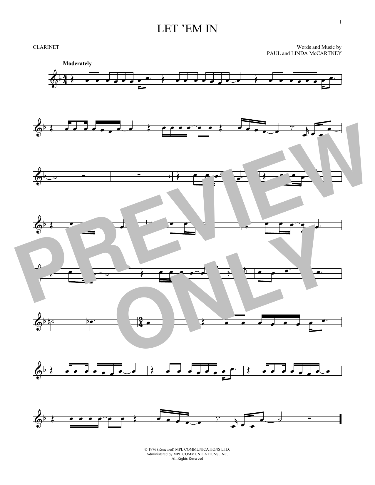 Partition clarinette Let 'Em In de Wings - Clarinette