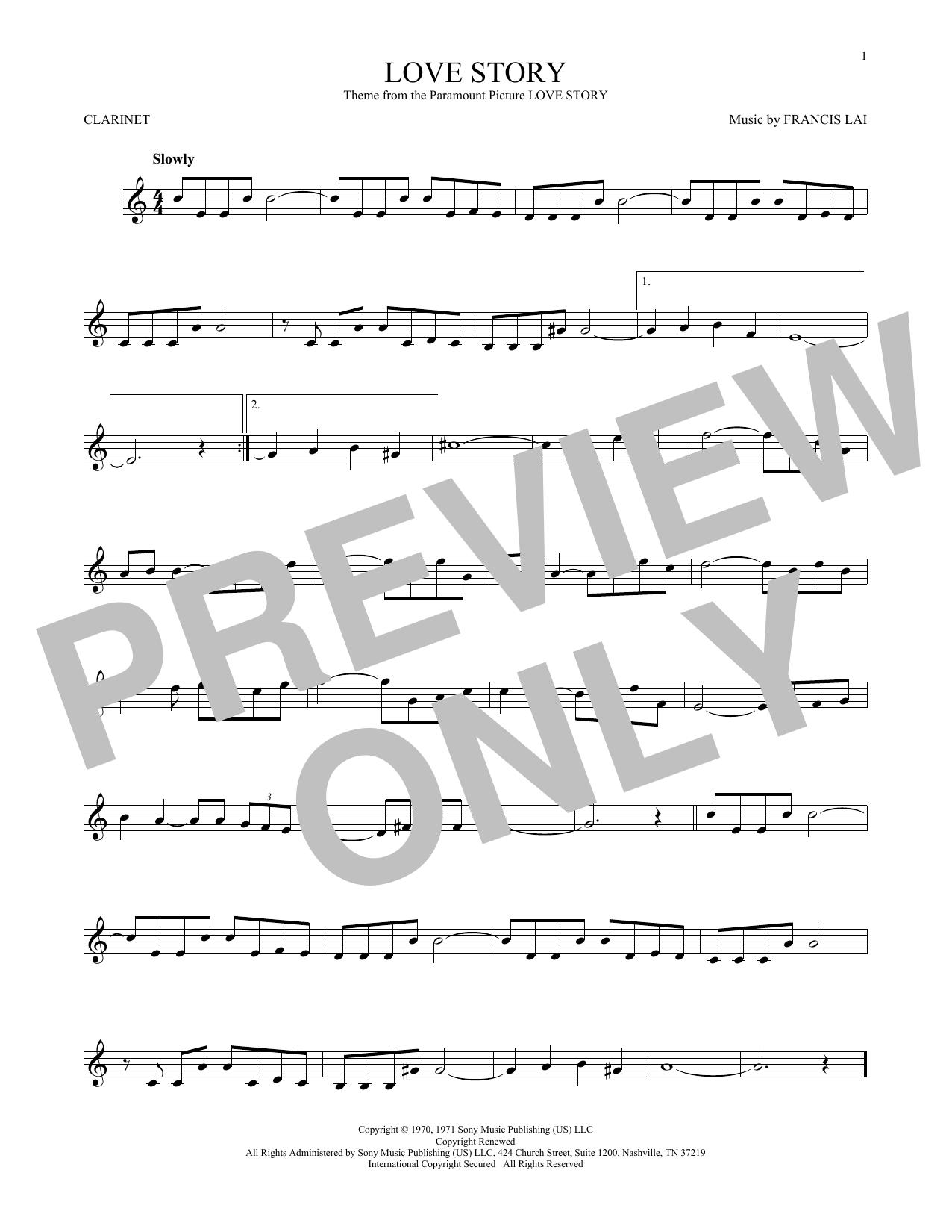 Partition clarinette Love Story de Francis Lai - Clarinette