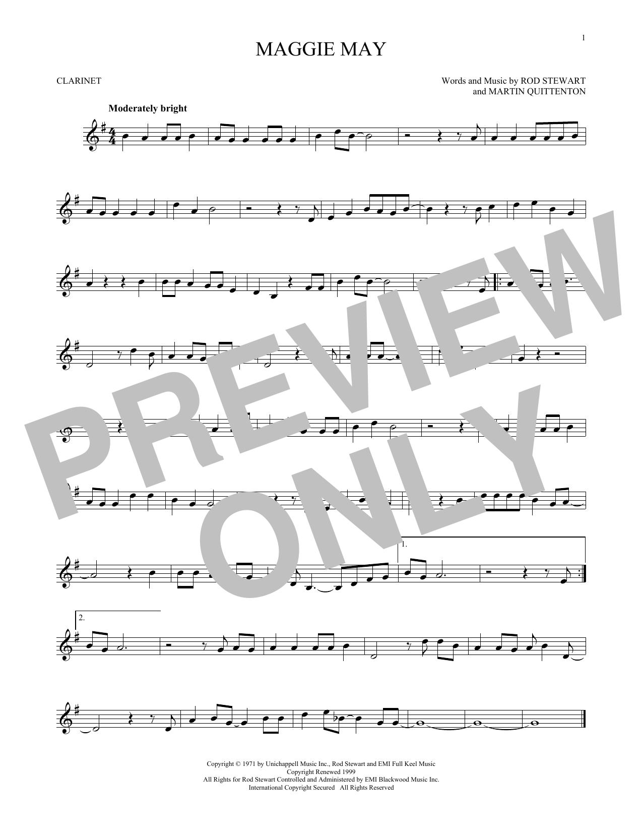 Partition clarinette Maggie May de Rod Stewart - Clarinette
